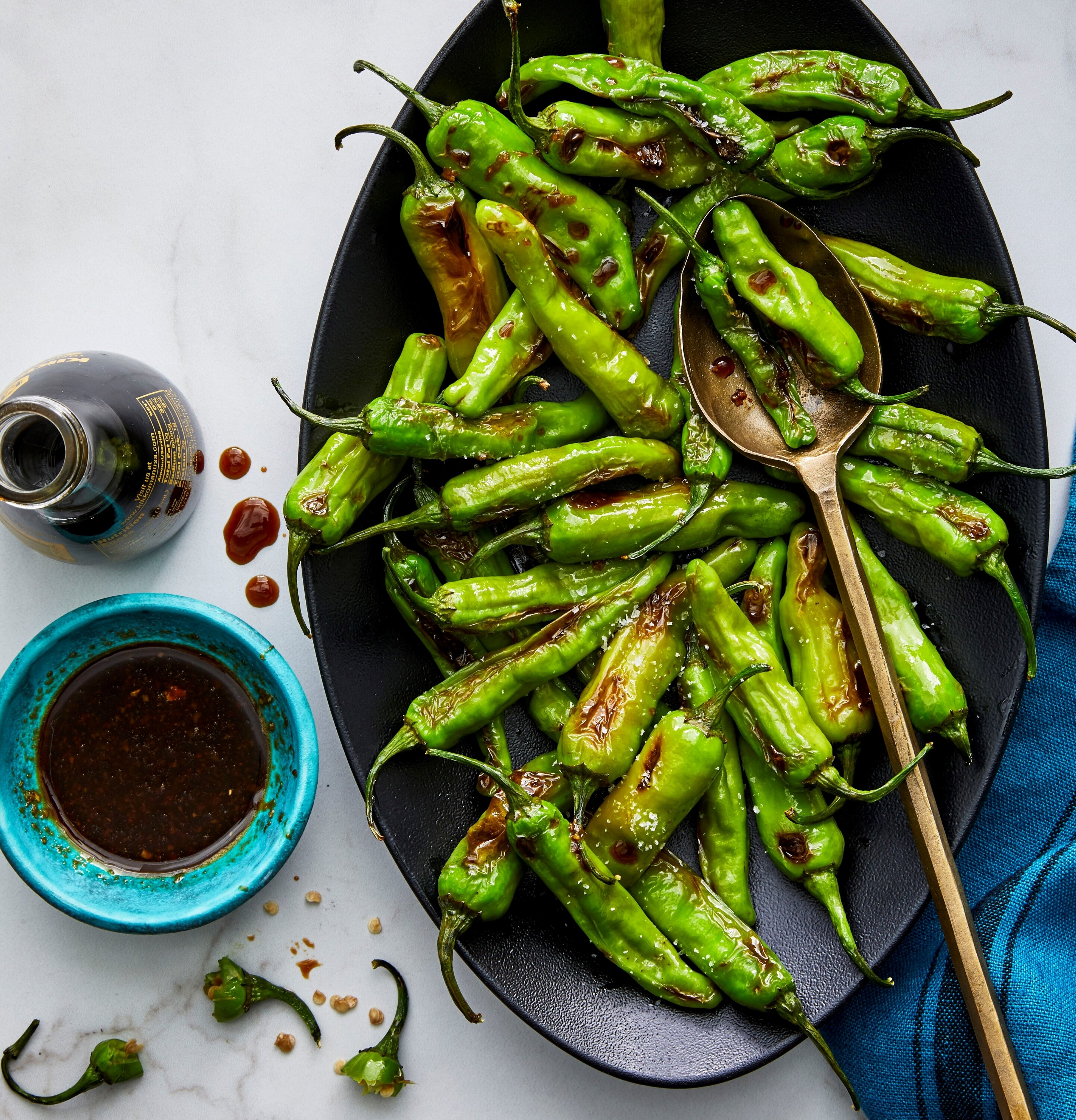 air fryer soy ginger shishito peppers recipe