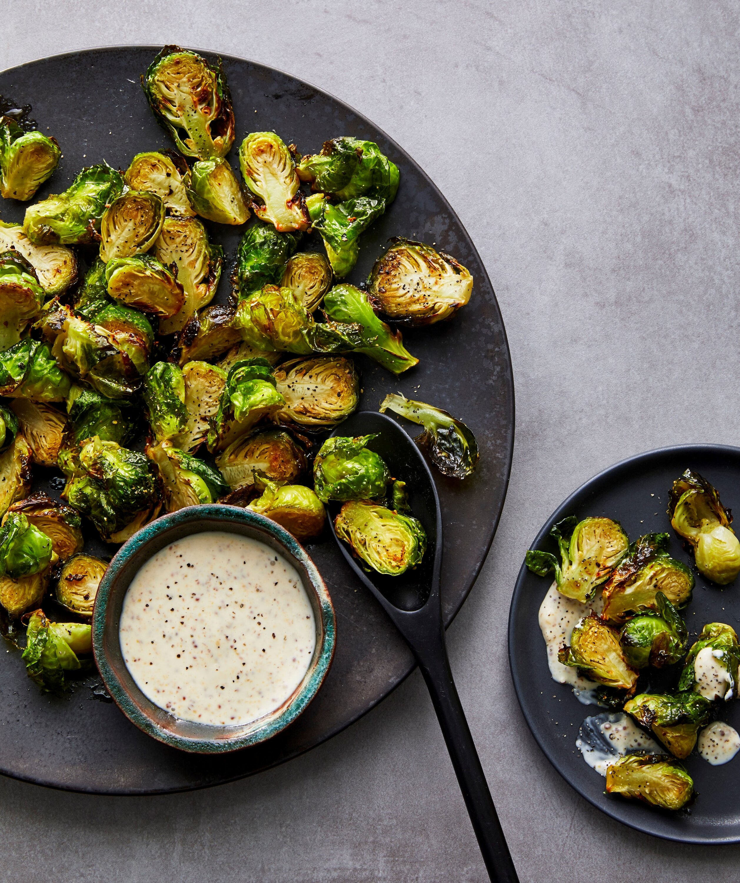 air fryer roasted brussels sprouts with maple mustard mayo