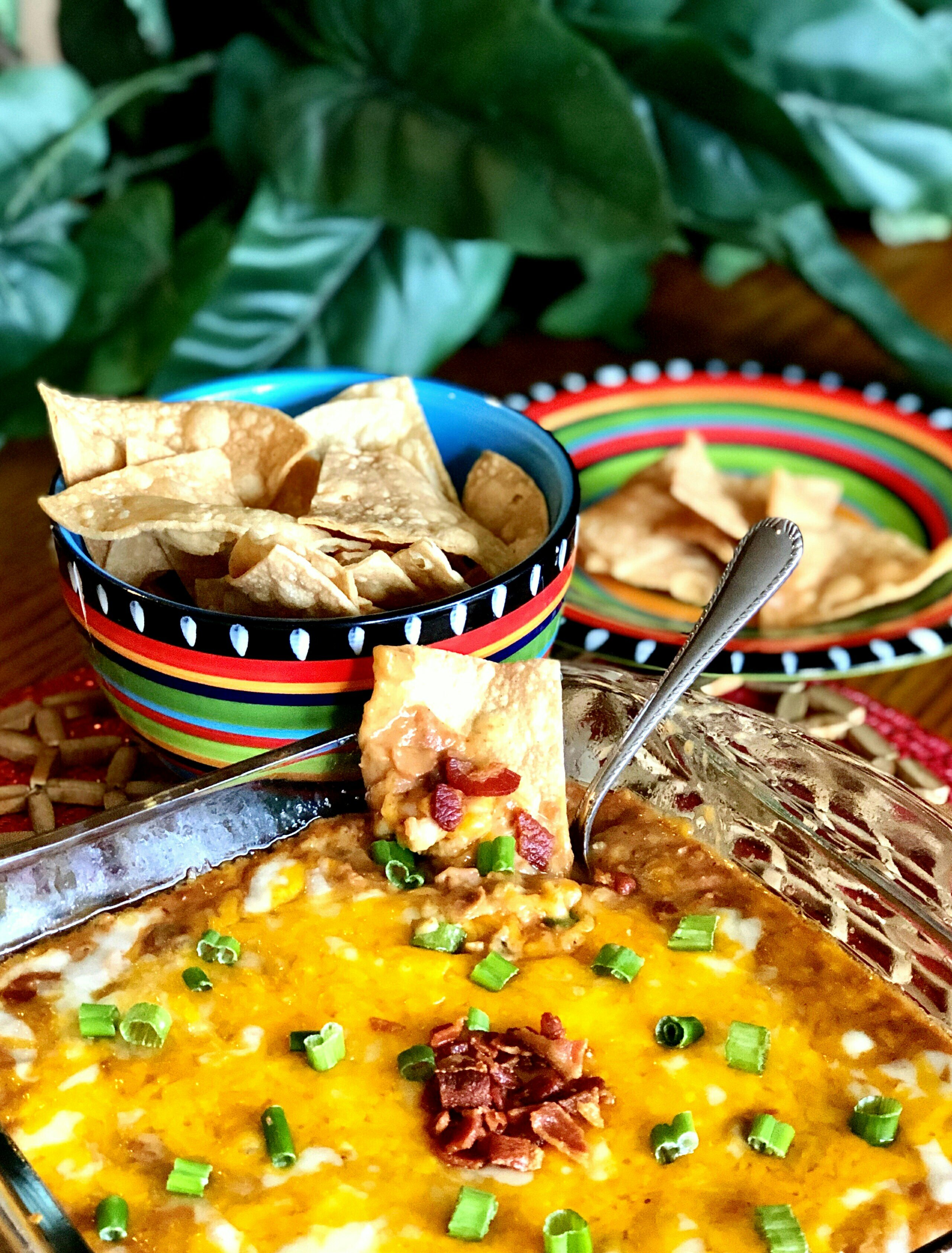 back to hot bean and bacon dip with air fryer tortilla chips recipe