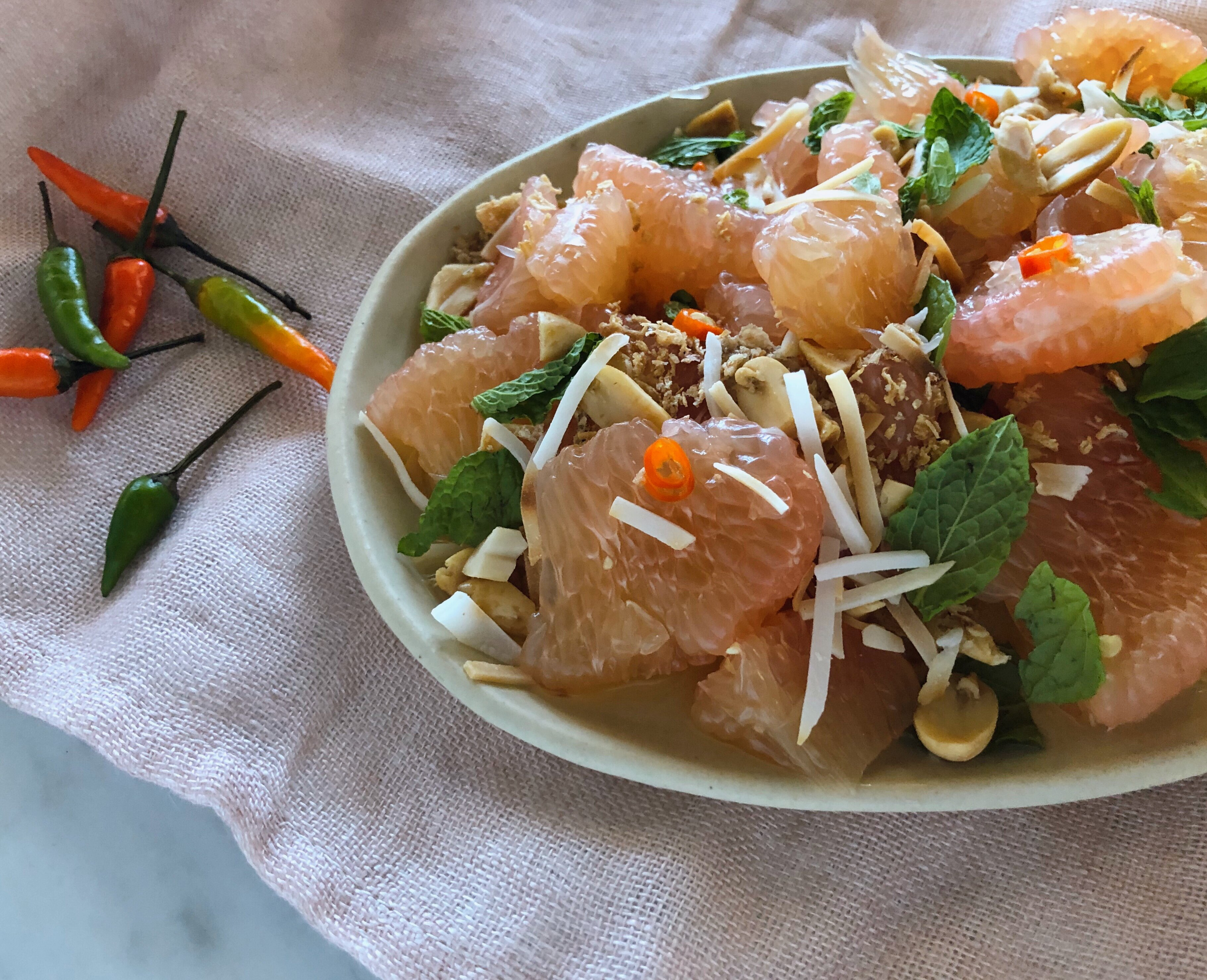 pomelo salad with peanuts mint and chile recipe