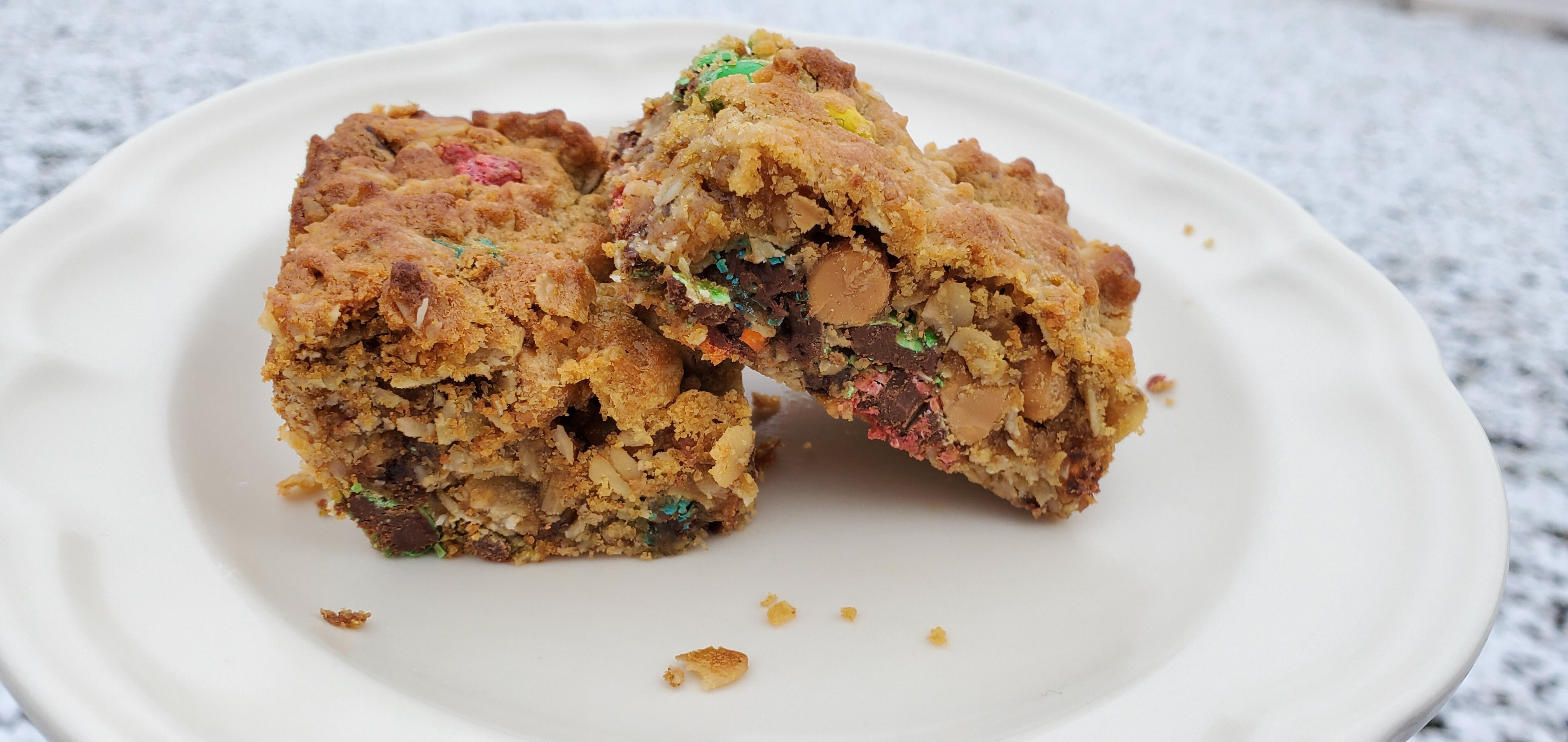 peanut butter and chocolate monster cookie bars recipe