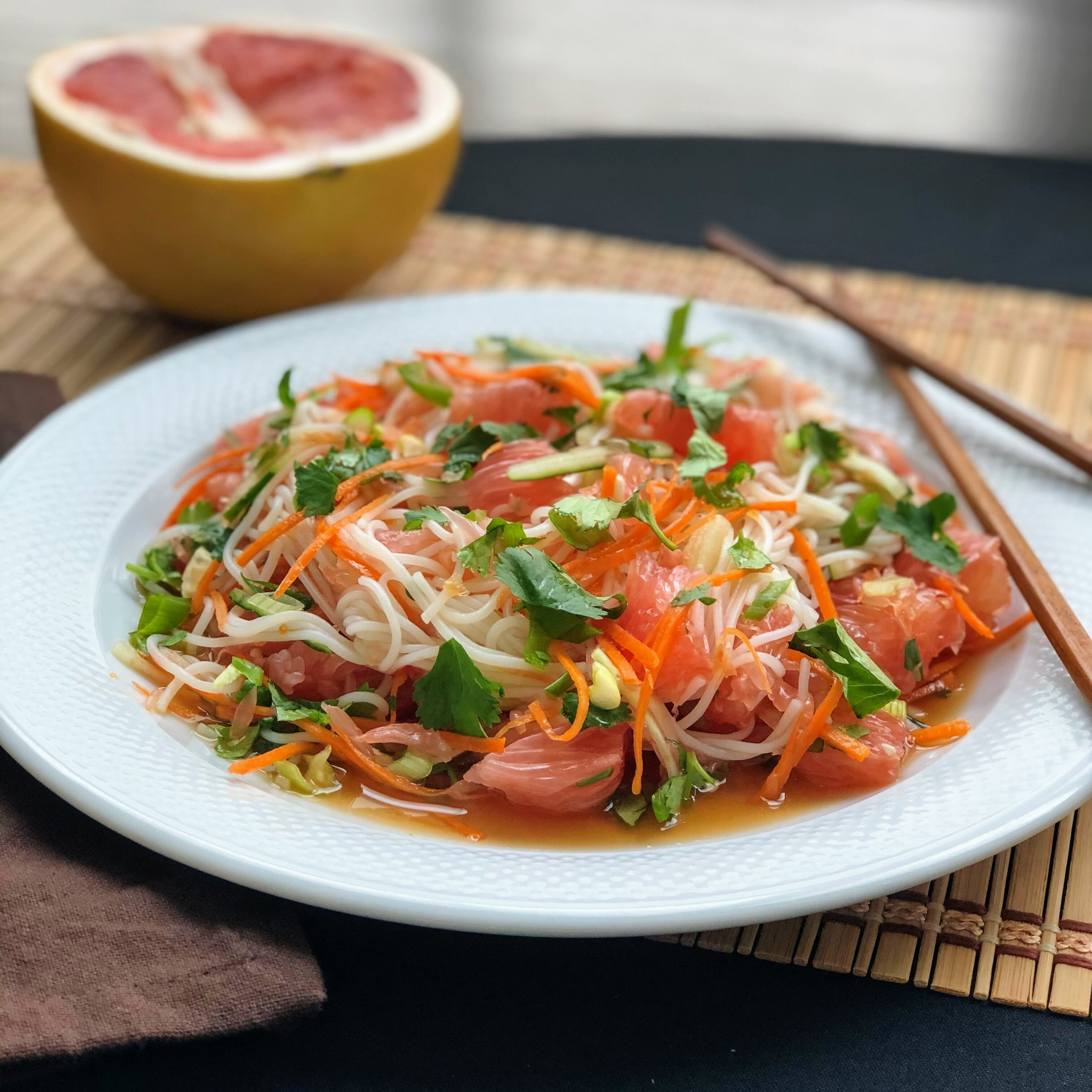 pomelo salad with rice vermicelli recipe