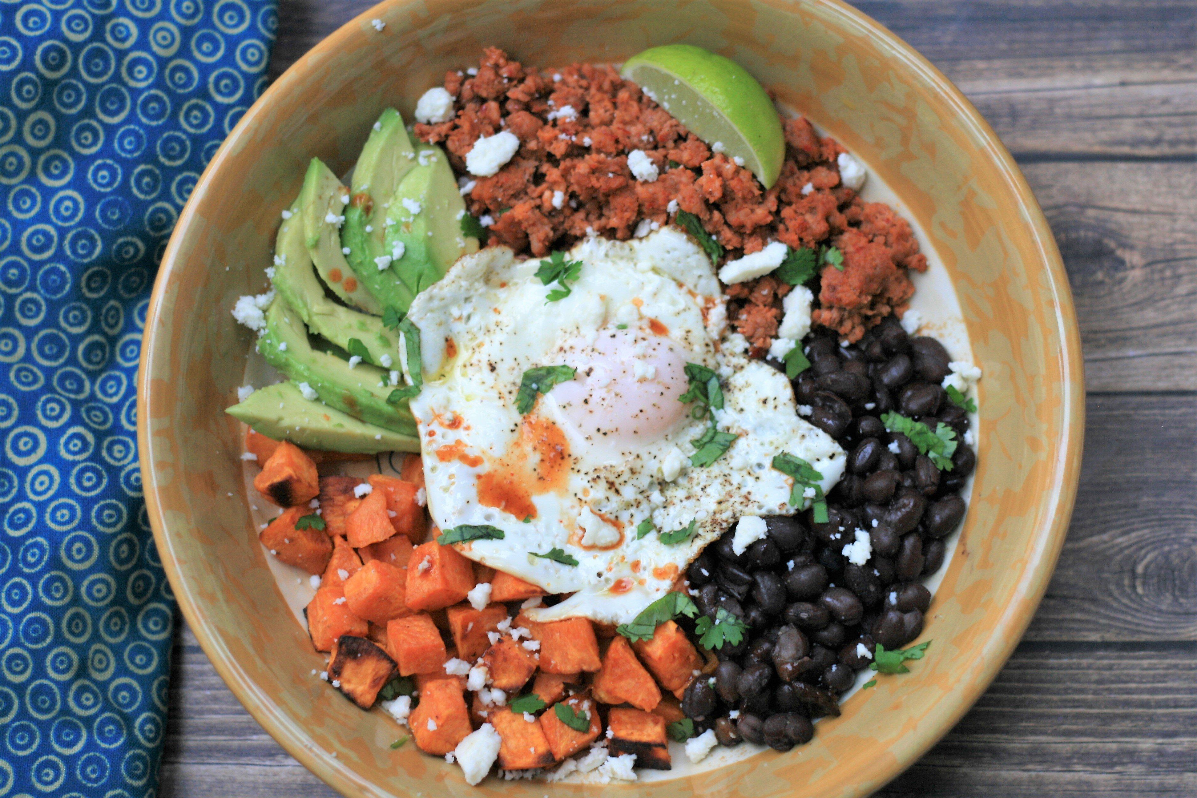 roasted sweet potato black bean and chorizo breakfast bowls