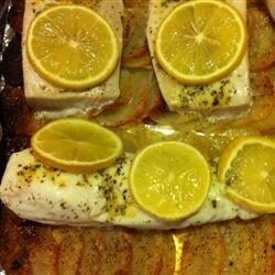 lemon herb fish and potato bake