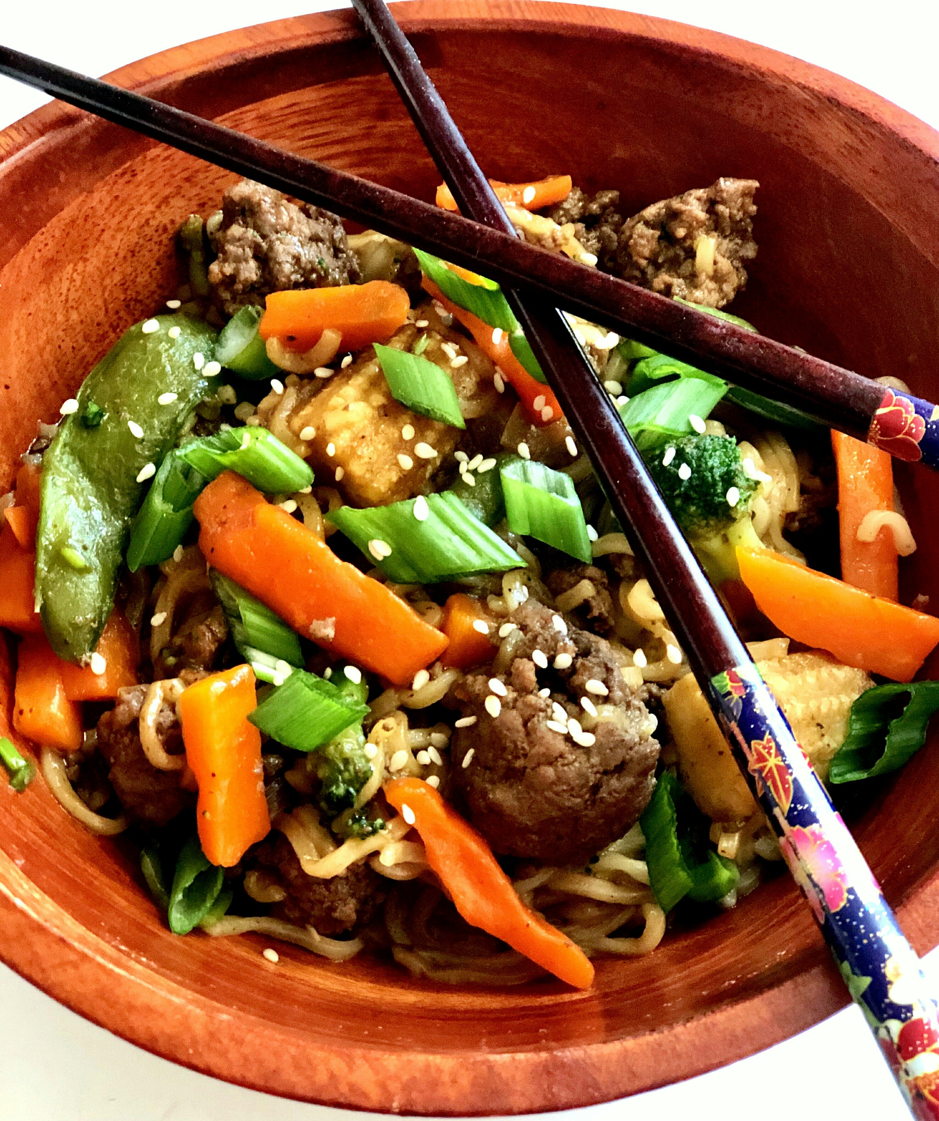 asian ground beef noodle bowls recipe