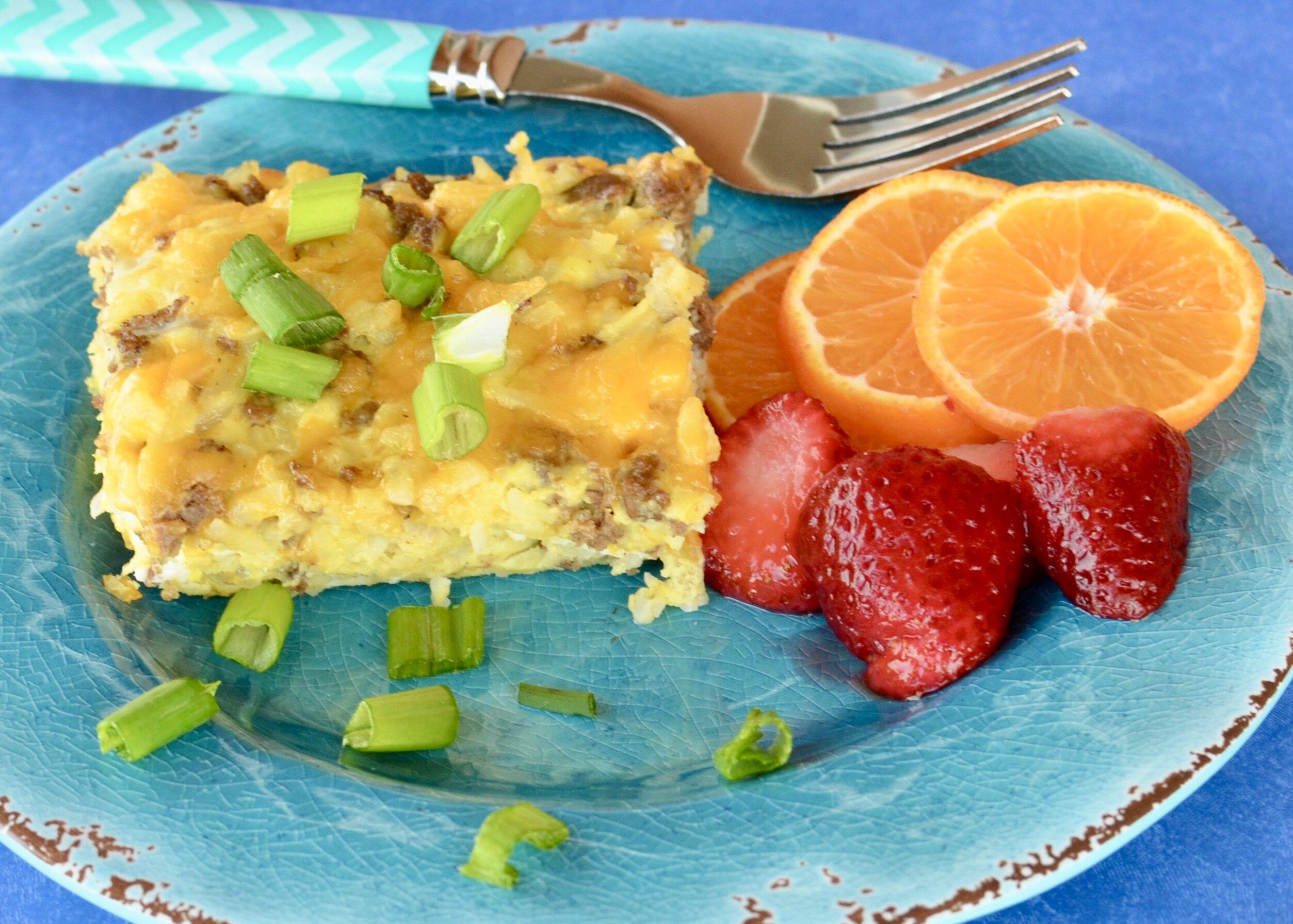 cheesy sausage and potato breakfast casserole recipe