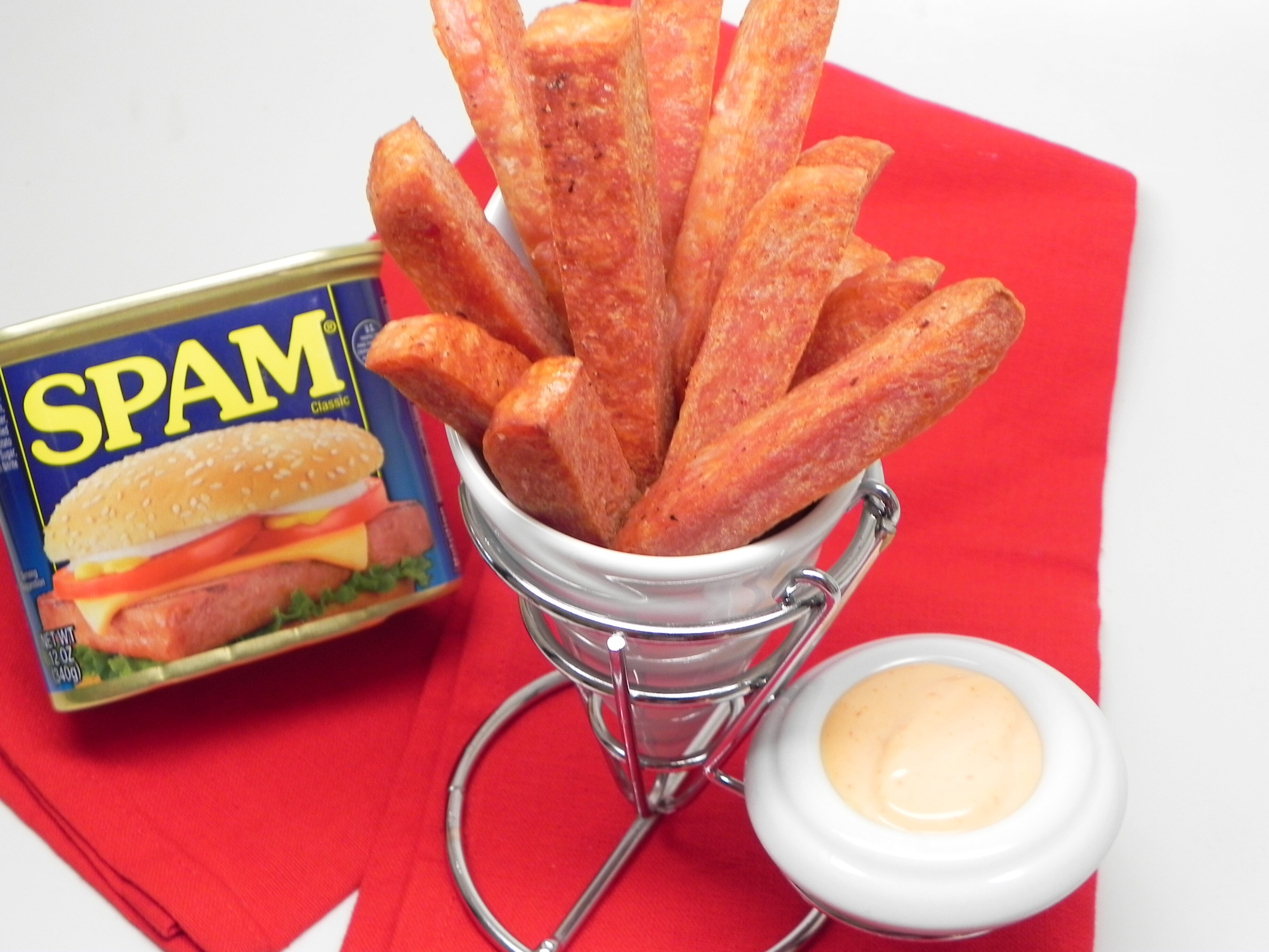 air fryer spam fries with spicy dipping sauce recipe