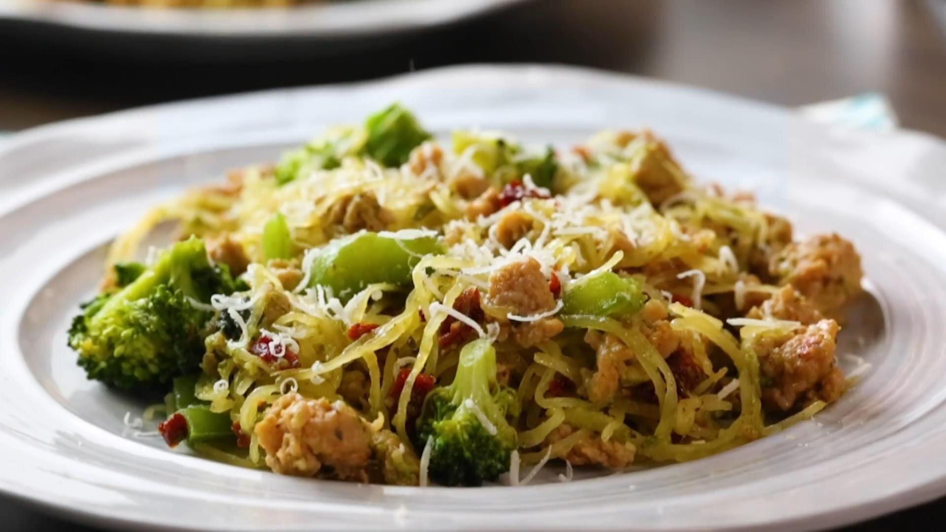 italian chicken pesto with spaghetti squash recipe
