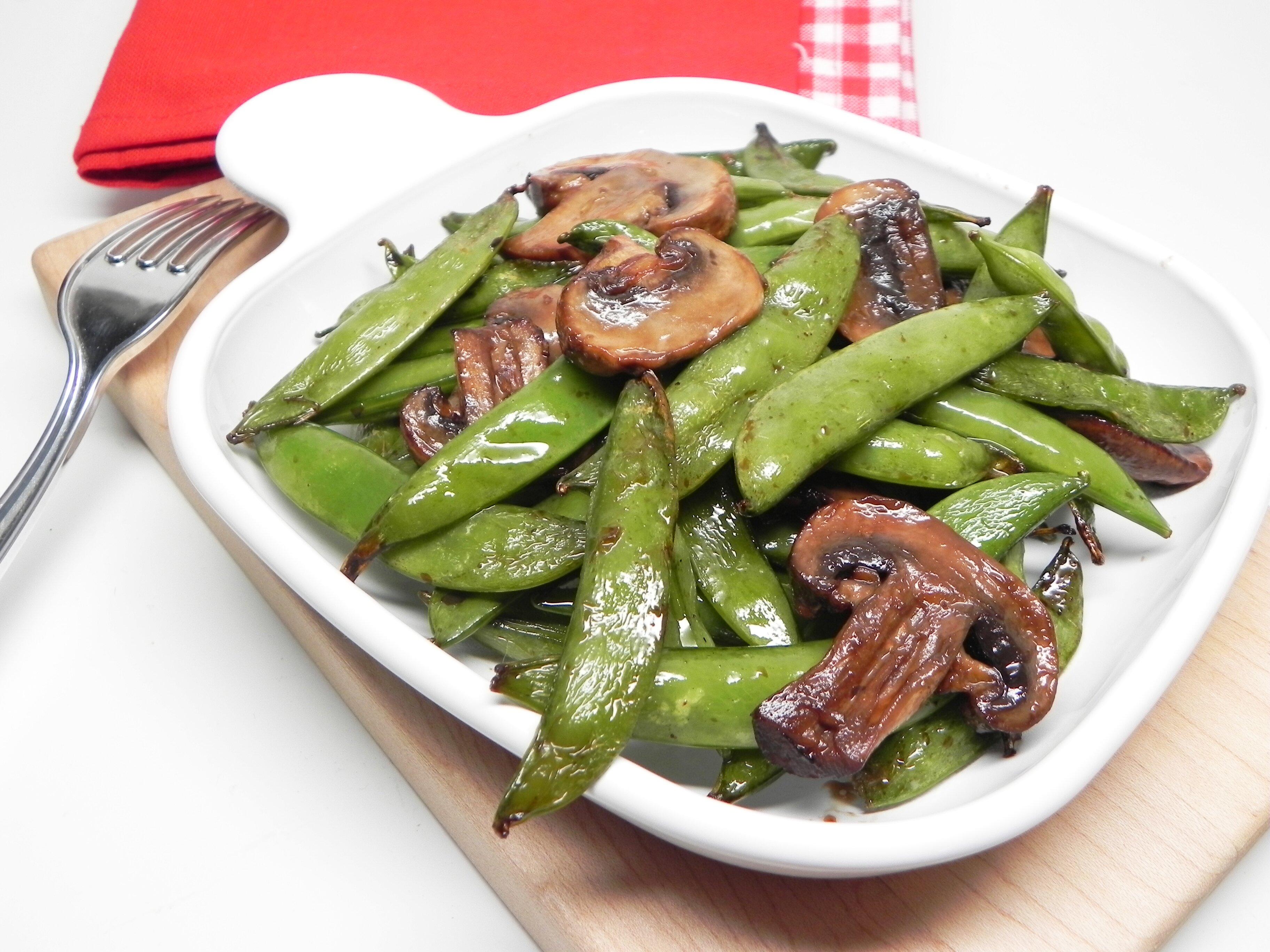 air fryer teriyaki snap peas and mushrooms recipe
