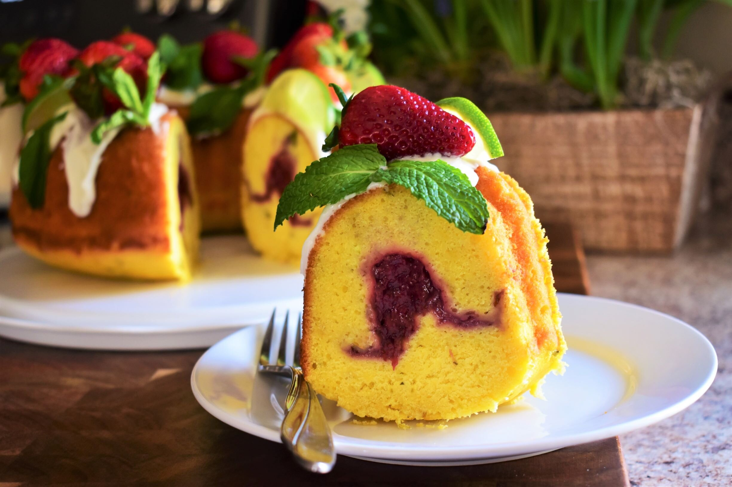 lime mint pound cake with strawberry filling recipe