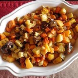 slow roasted winter vegetables