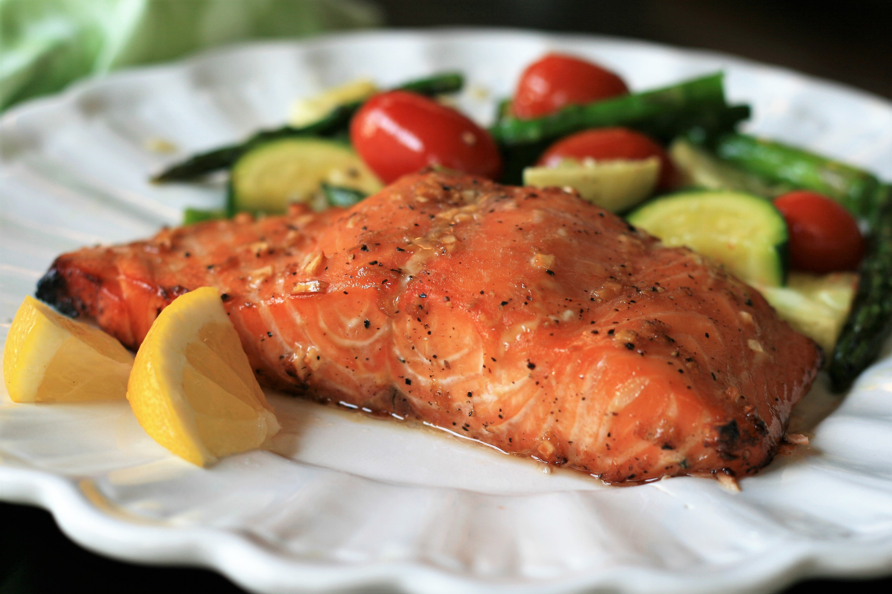 Grilled Salmon with Maple Syrup and Soy Sauce