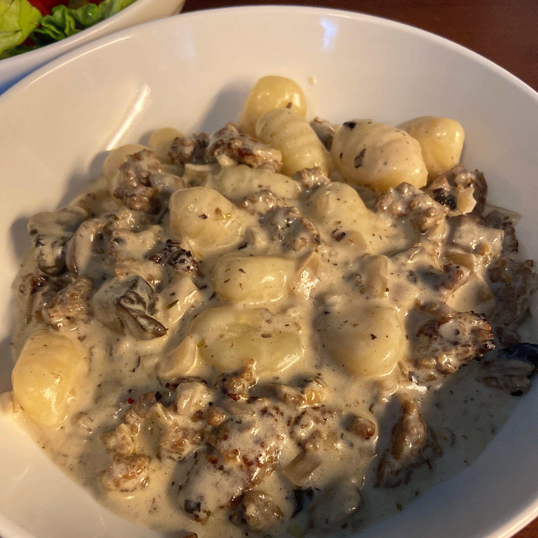 creamy sausage and mushroom gnocchi skillet recipe
