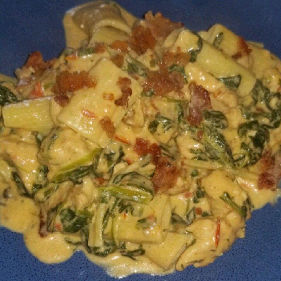 creamy spinach chicken pasta with bacon recipe