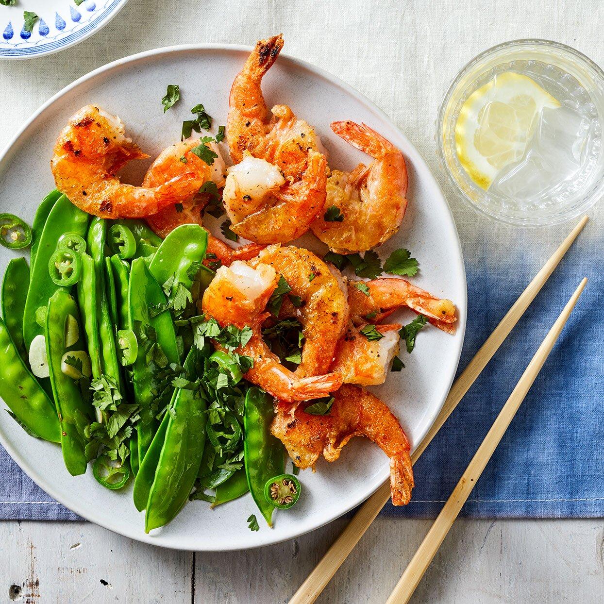 Salt & Pepper Shrimp with Snow Peas