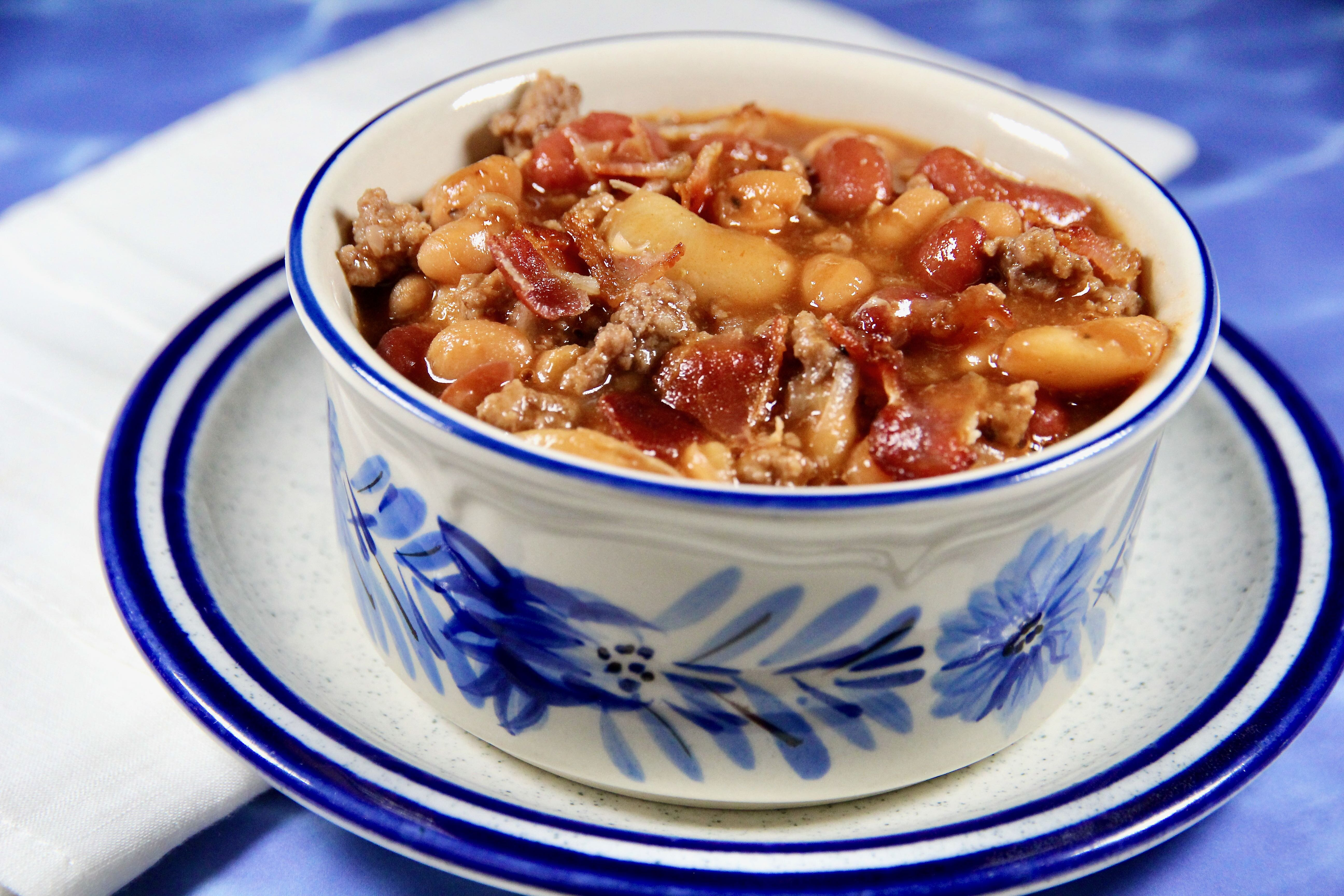 beefed up baked beans and bacon recipe