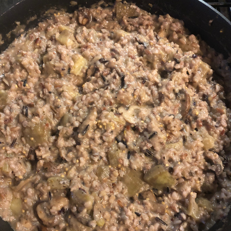 eggplant and mushrooms with wild rice recipe