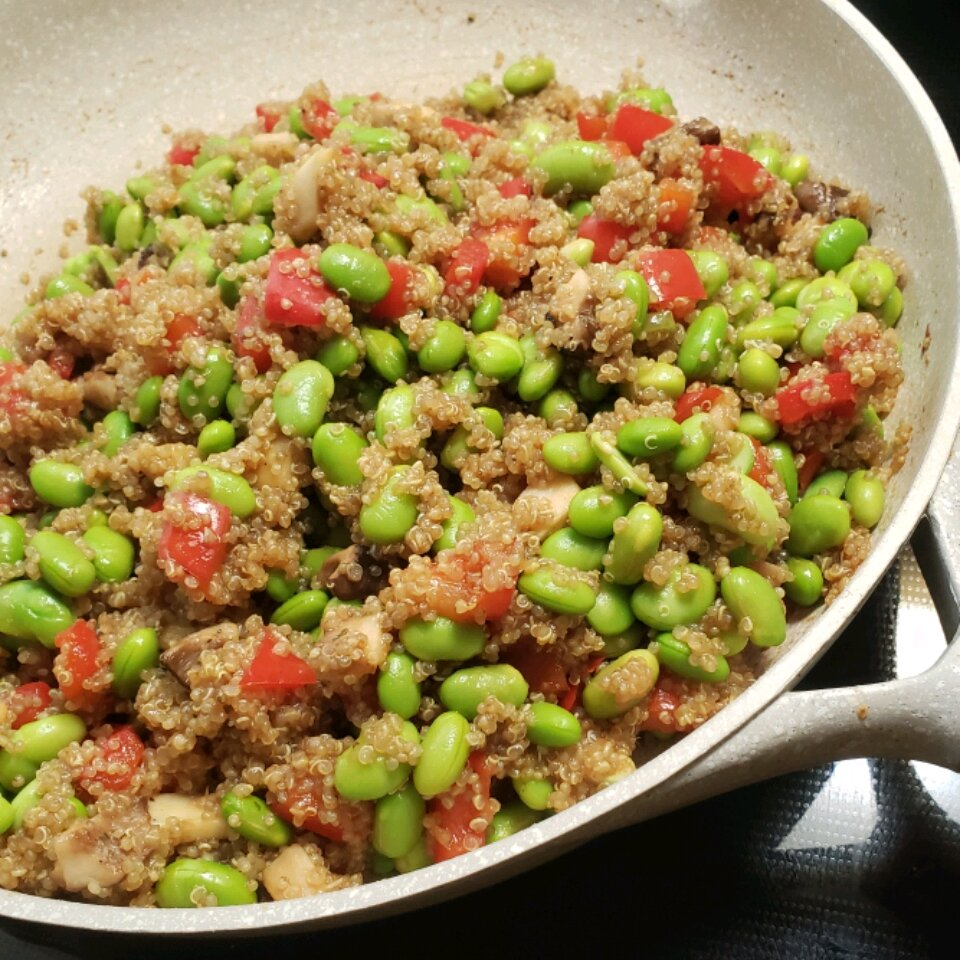 back to protein packed spicy vegan quinoa with edamame recipe