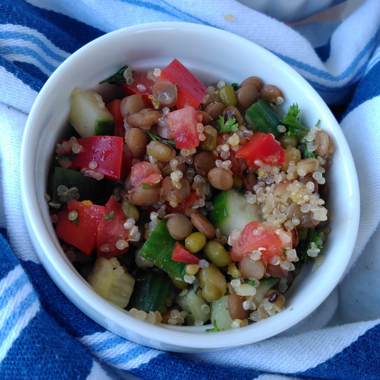 lentil quinoa and mung bean salad