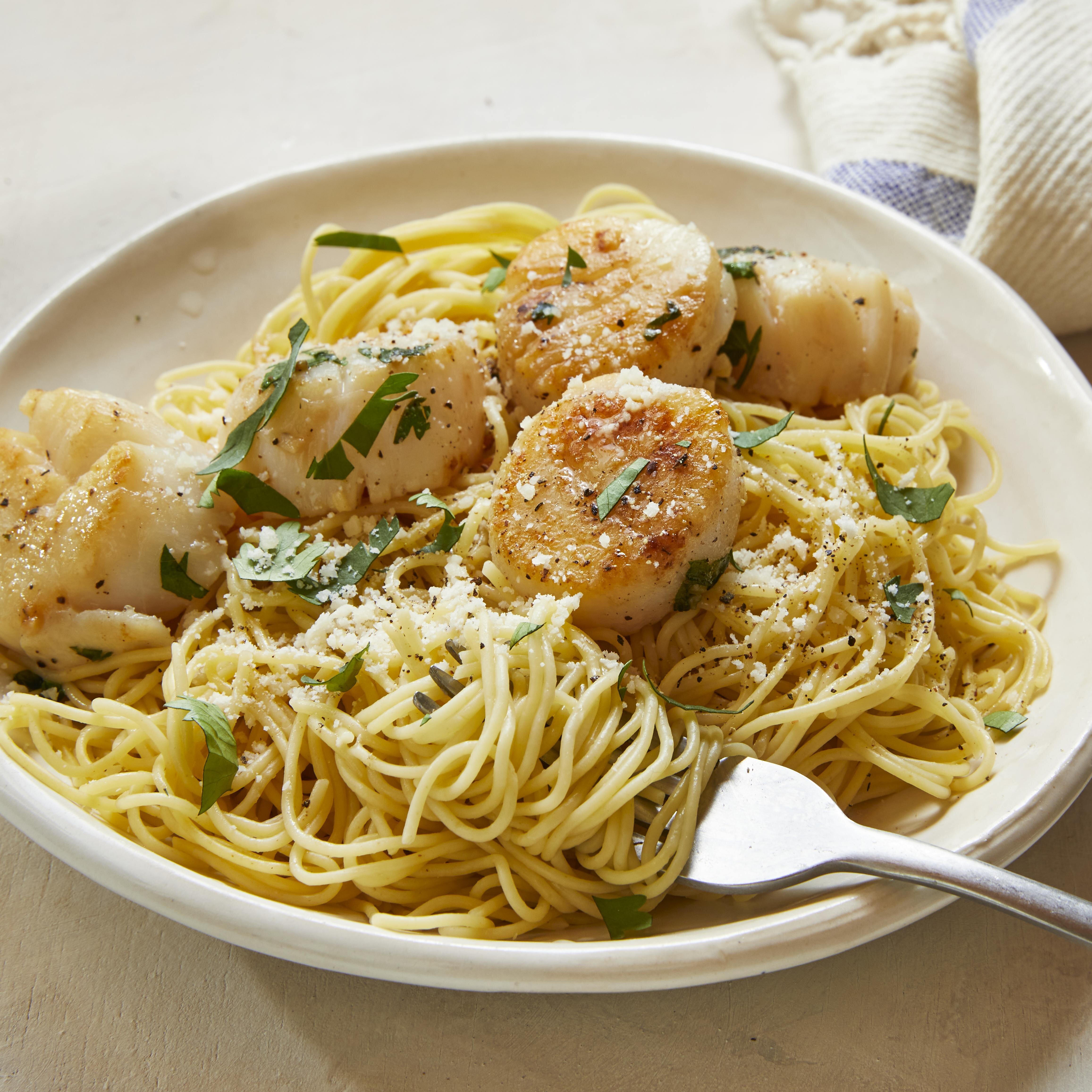 savory sea scallops and angel hair pasta recipe