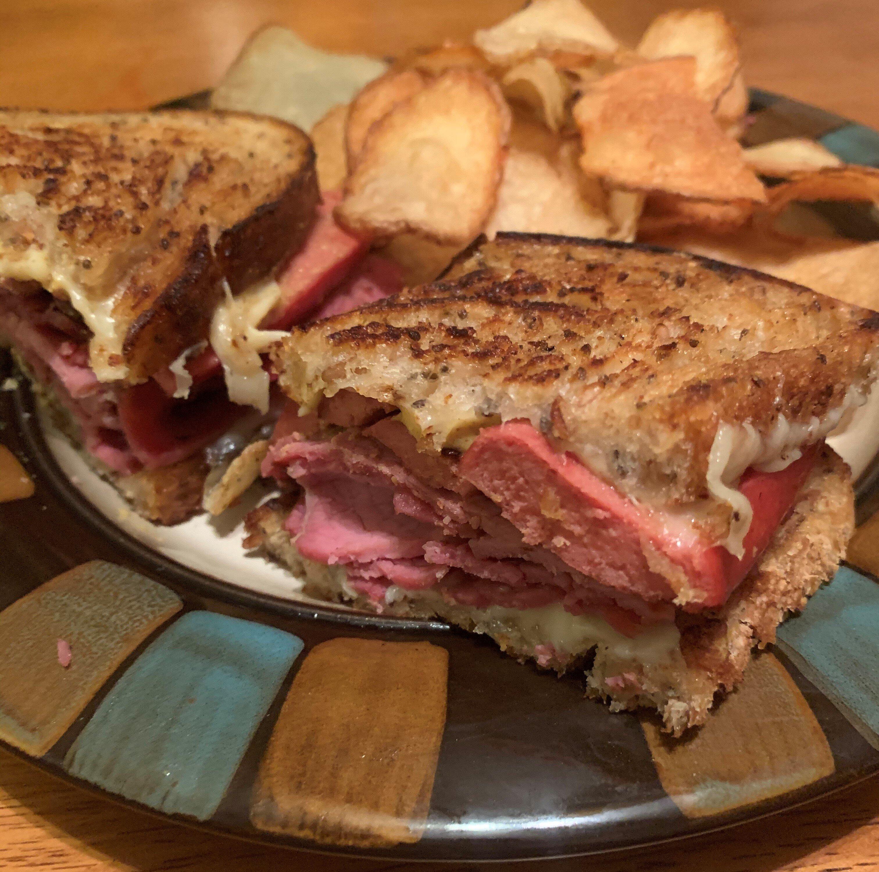 corned beef and knockwurst sandwich
