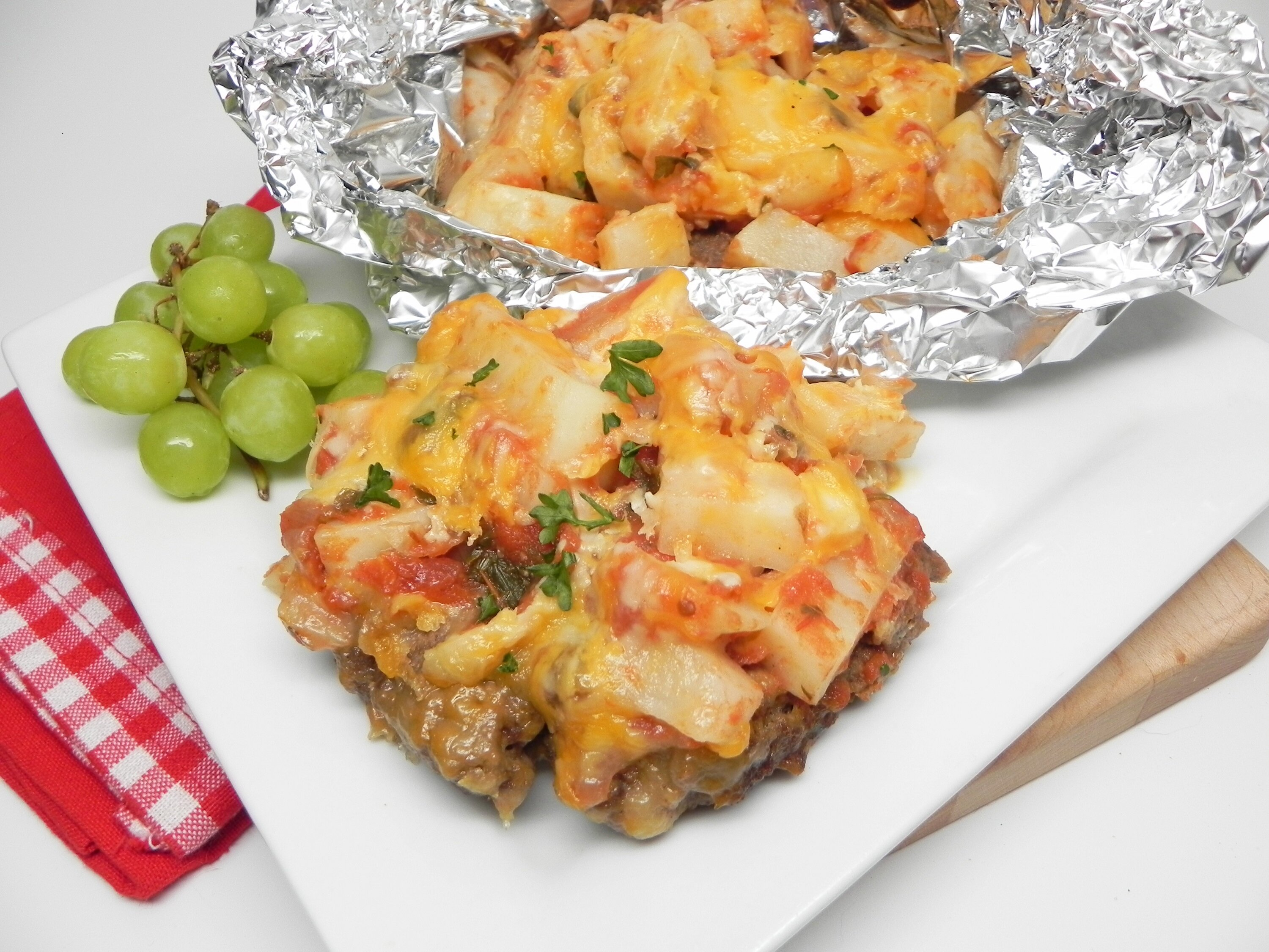 grilled taco burger and potato foil packets recipe
