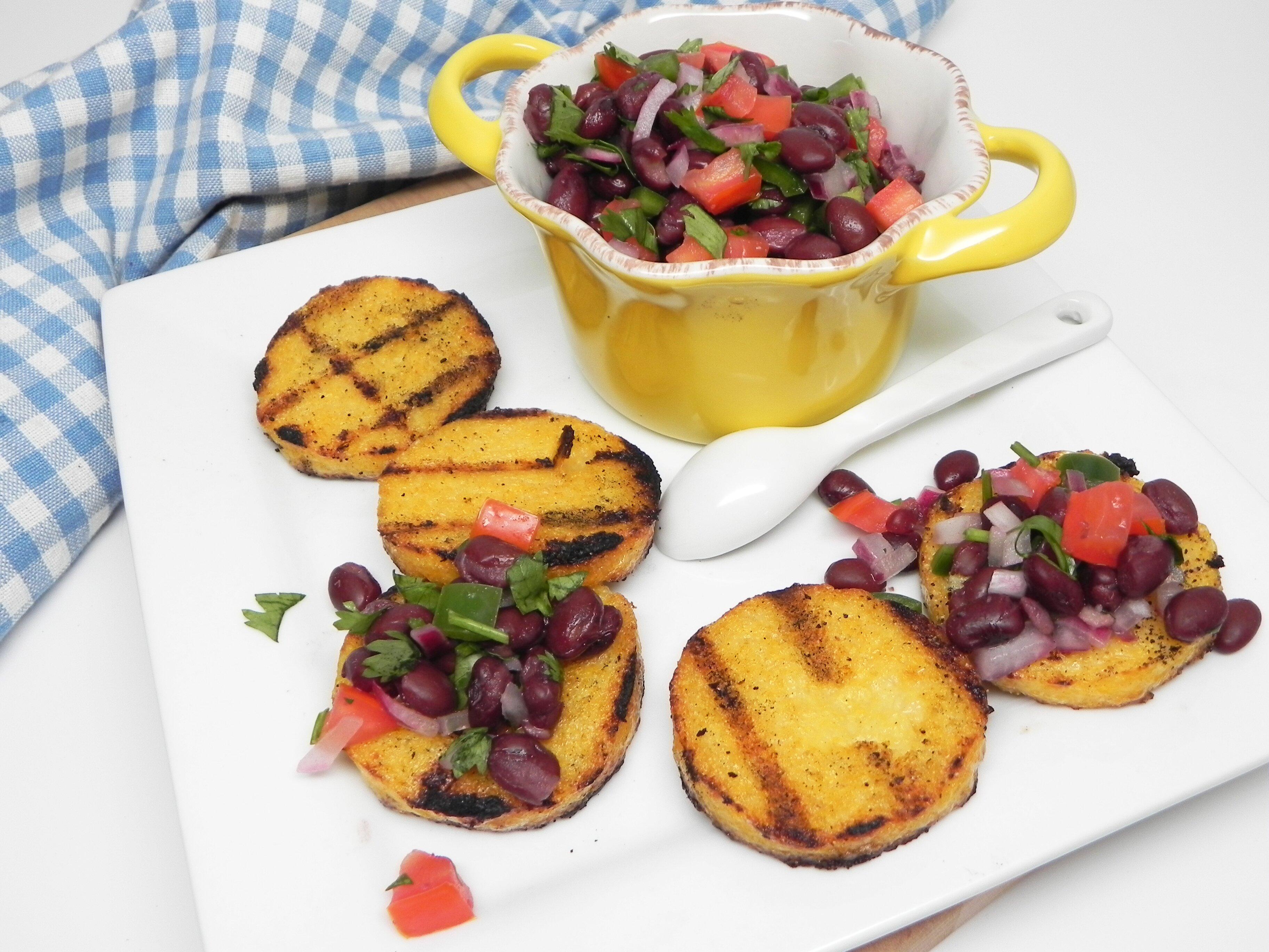 grilled polenta bites with black bean salsa