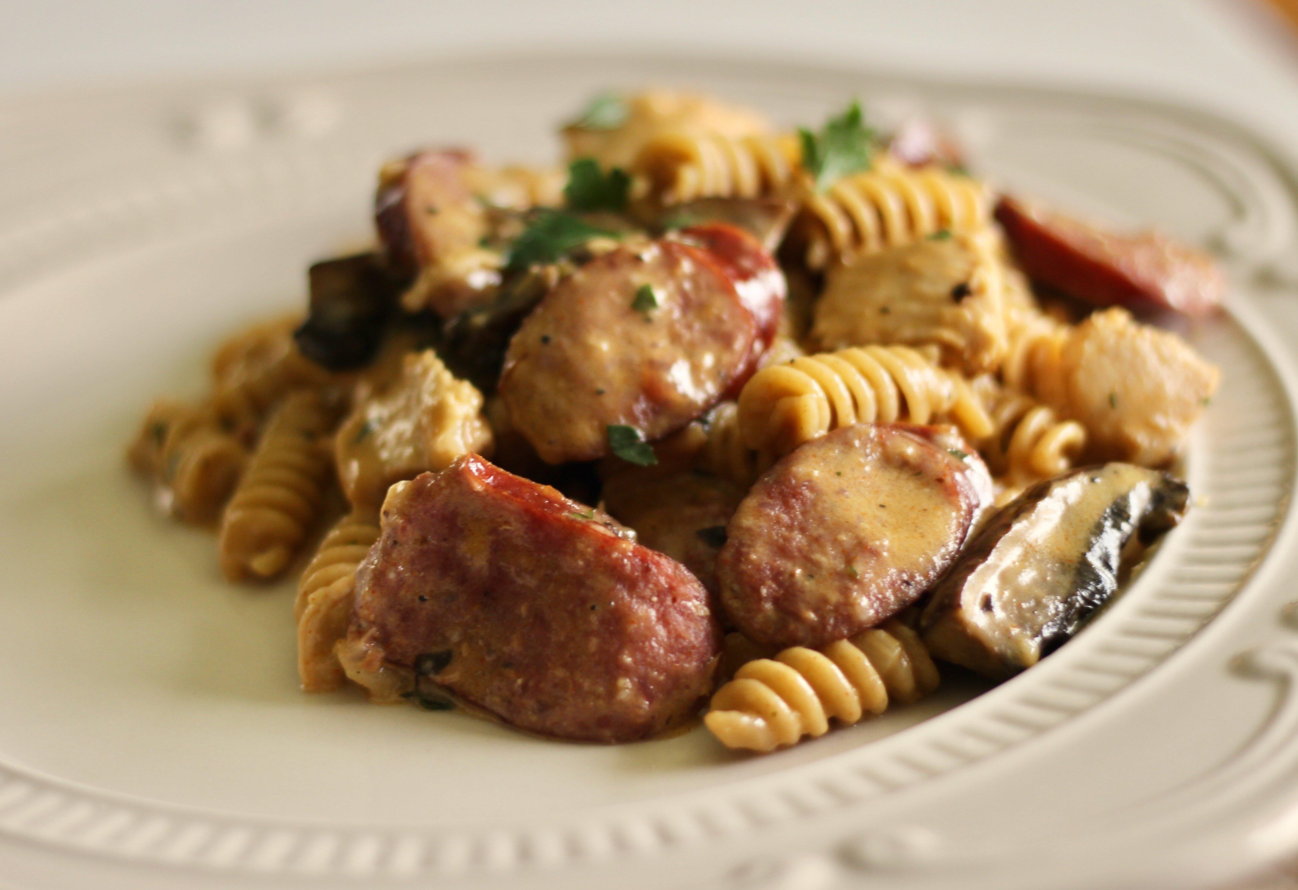 back to one pot cajun chicken and sausage alfredo pasta recipe