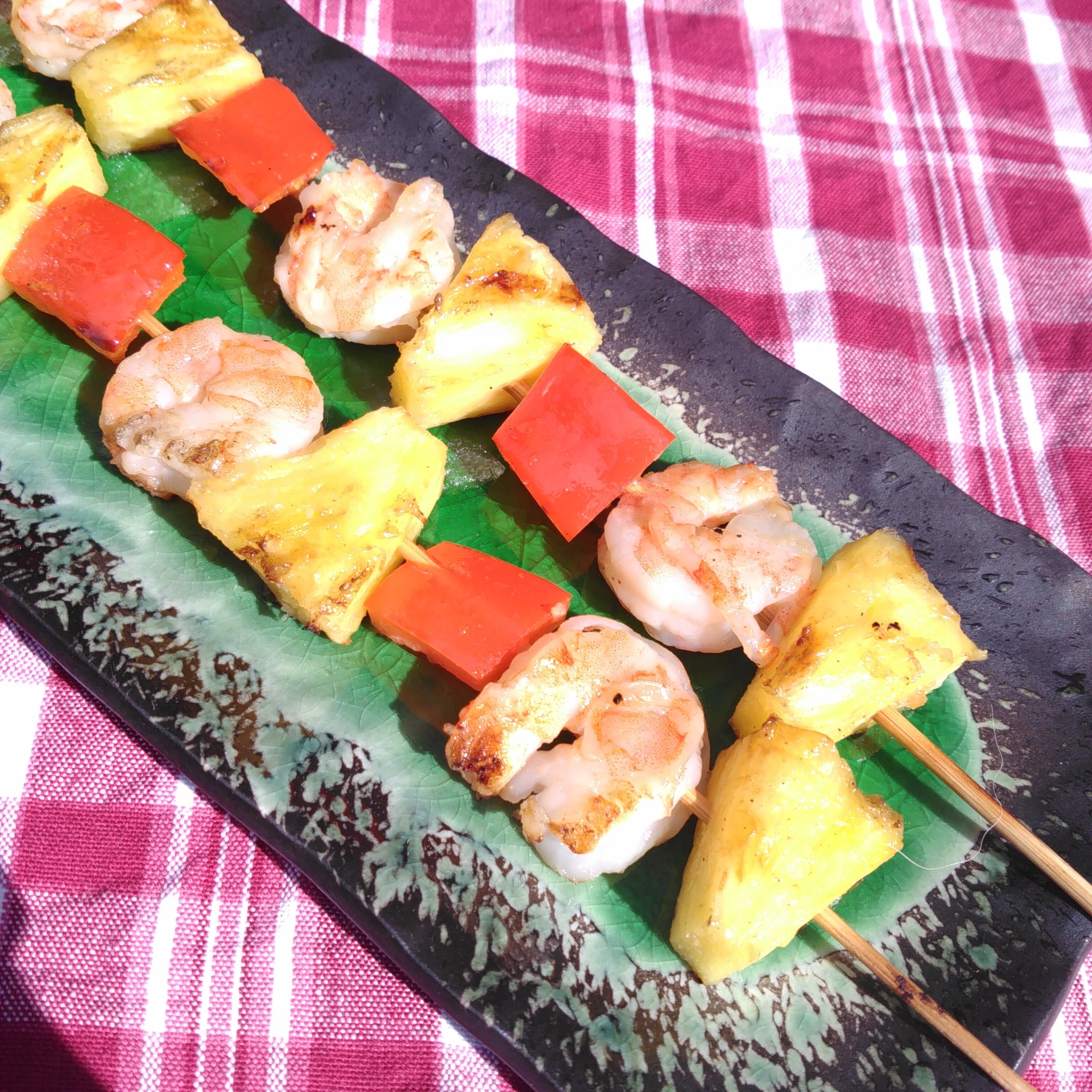 honey garlic shrimp and pineapple skewers