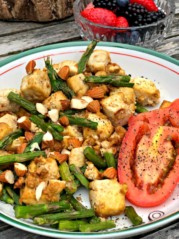 air fryer vegan tofu and asparagus scramble
