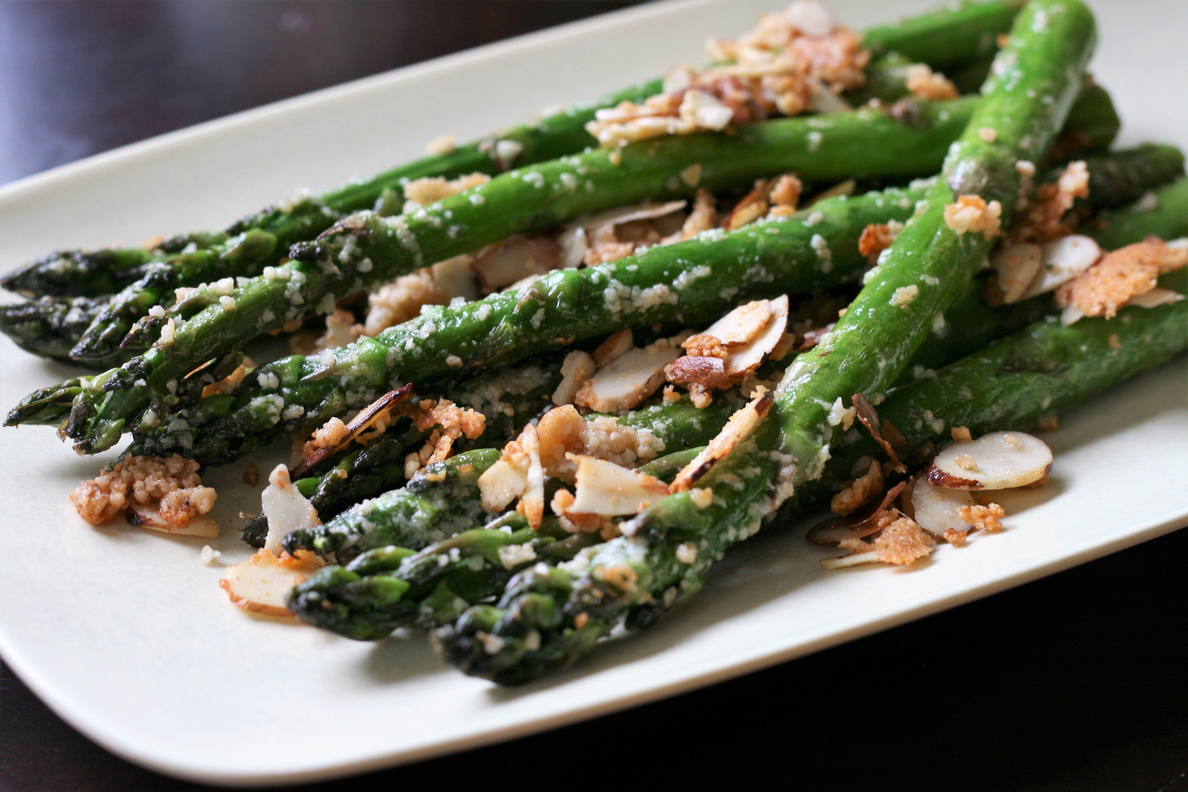 back to asparagus with sliced almonds and parmesan cheese recipe