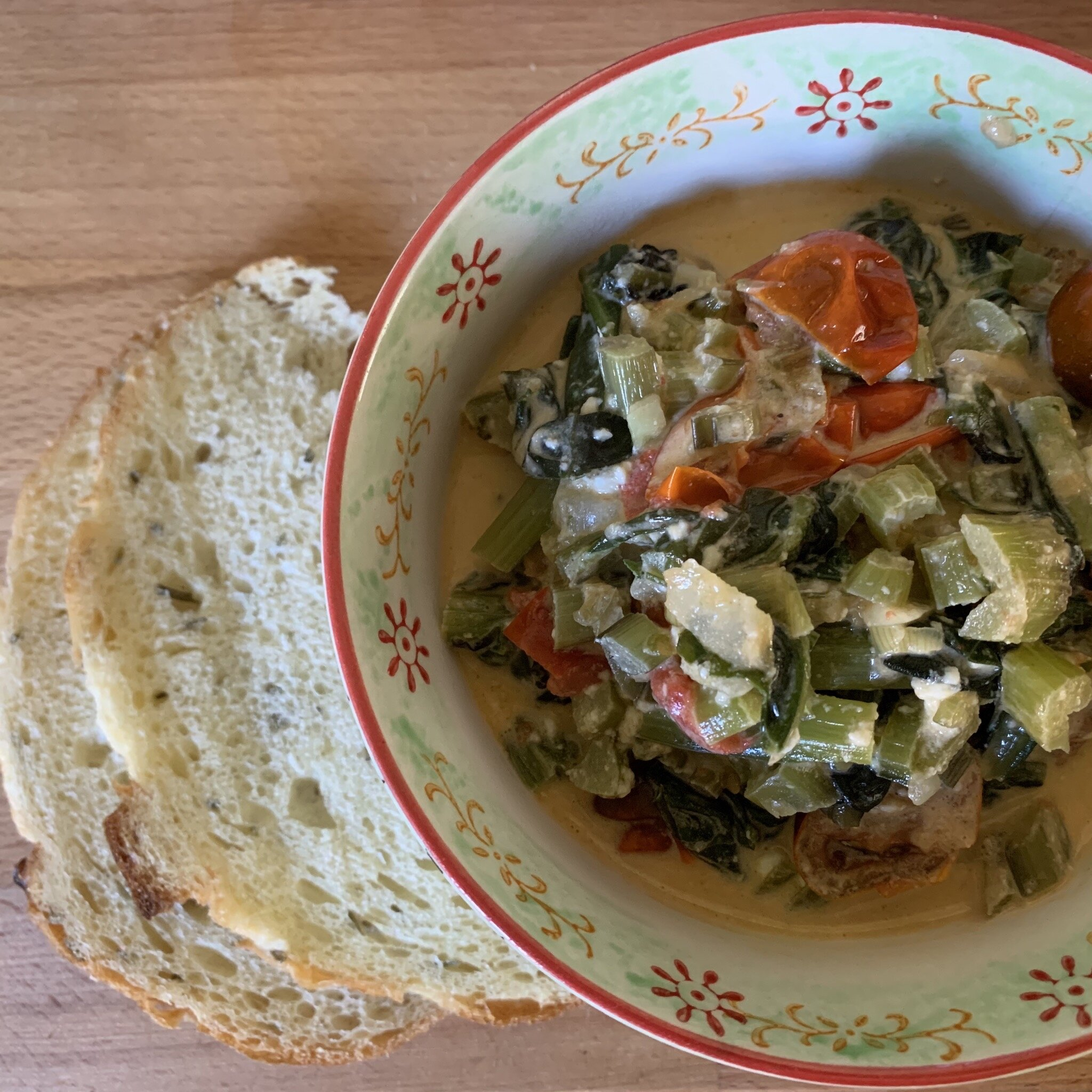 red chard with feta and tomatoes recipe