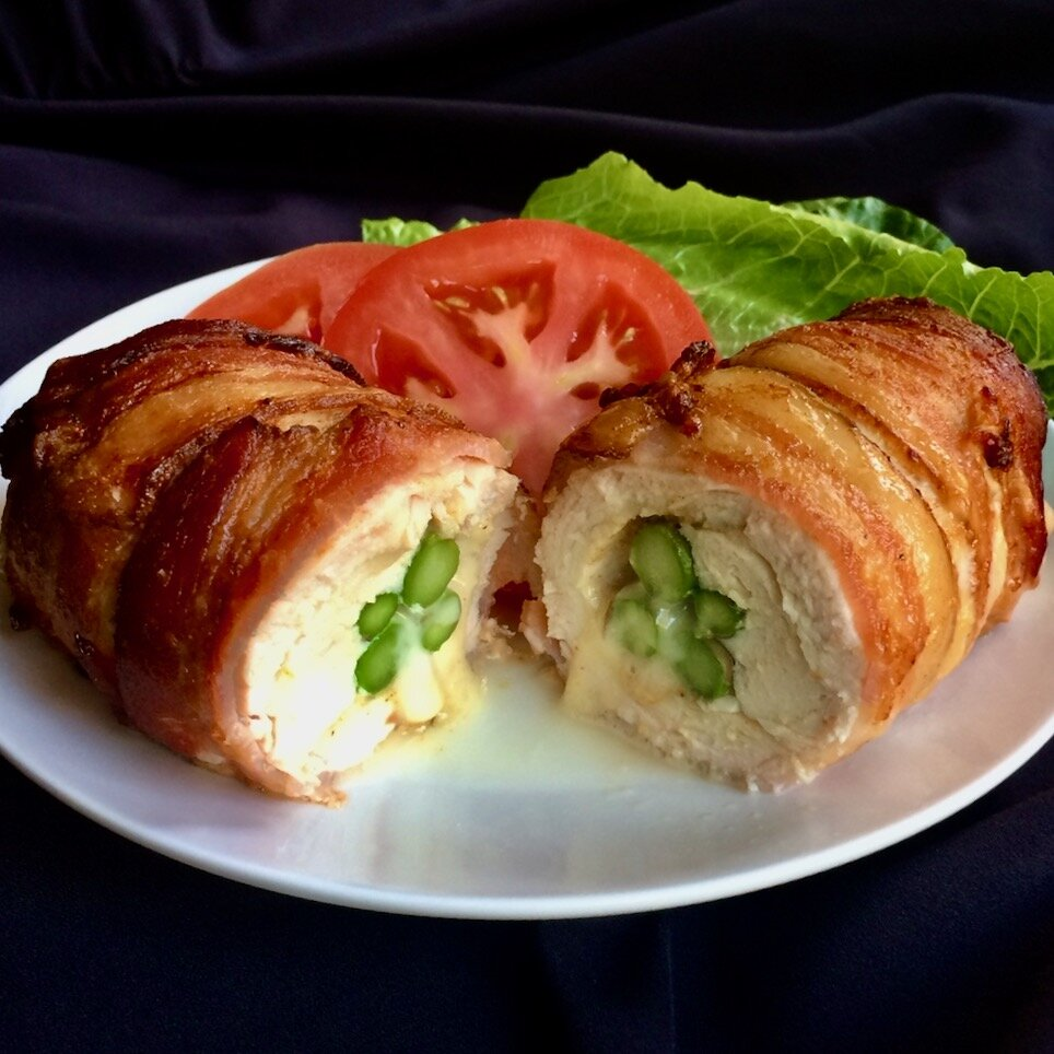 bacon wrapped stuffed chicken breasts in the air fryer