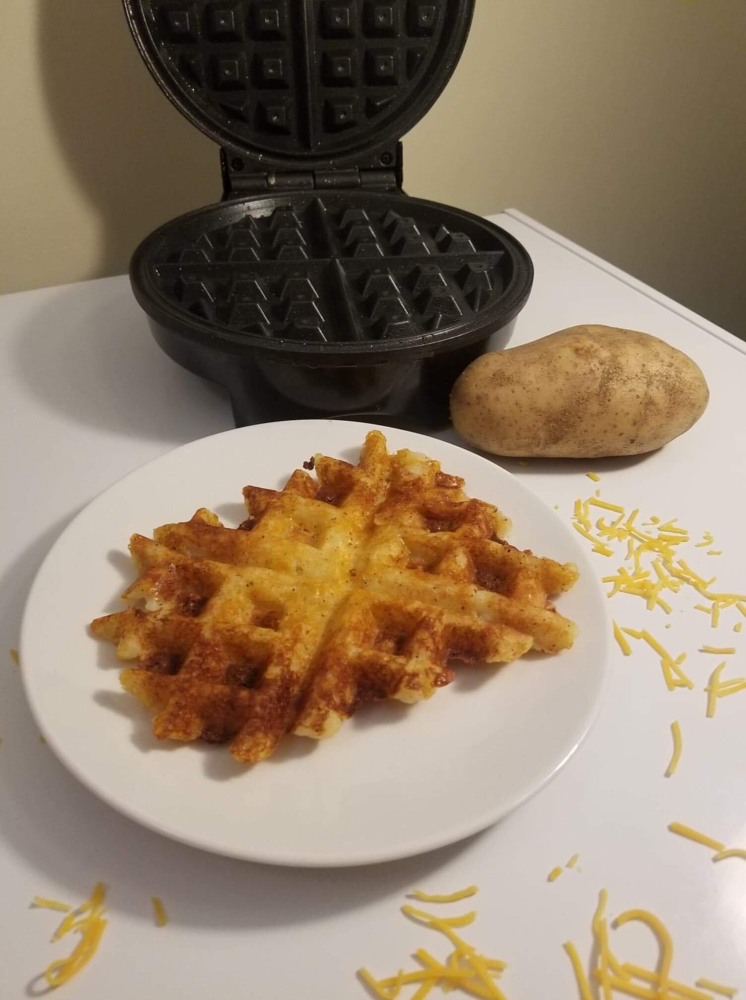 crispy cheesy potato waffles