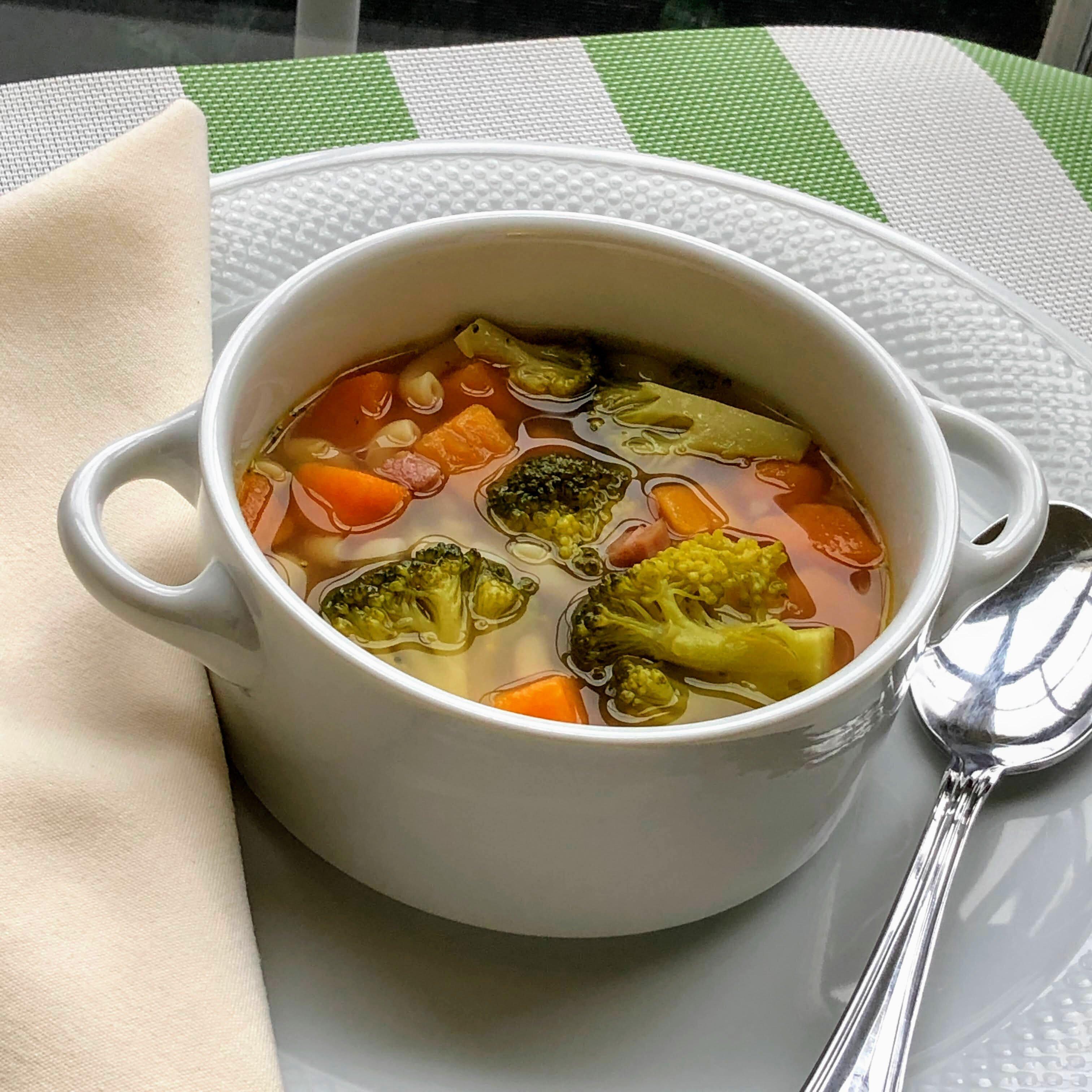 Broccoli, Ham, and Sweet Potato Soup
