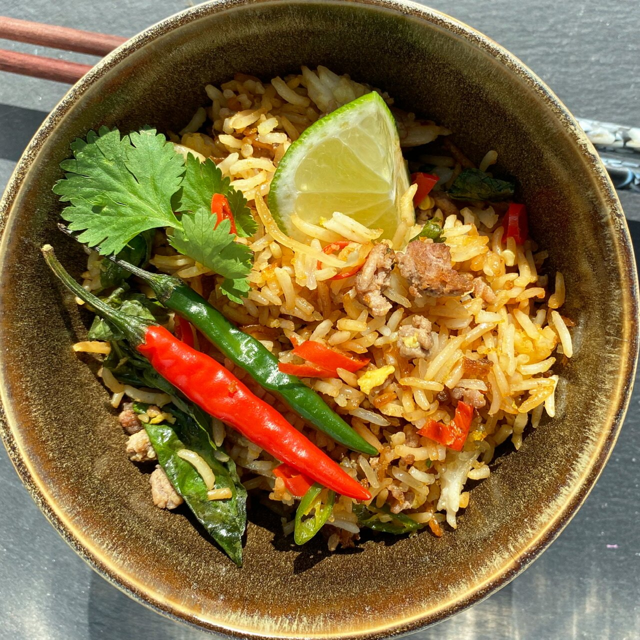thai inspired beef fried rice