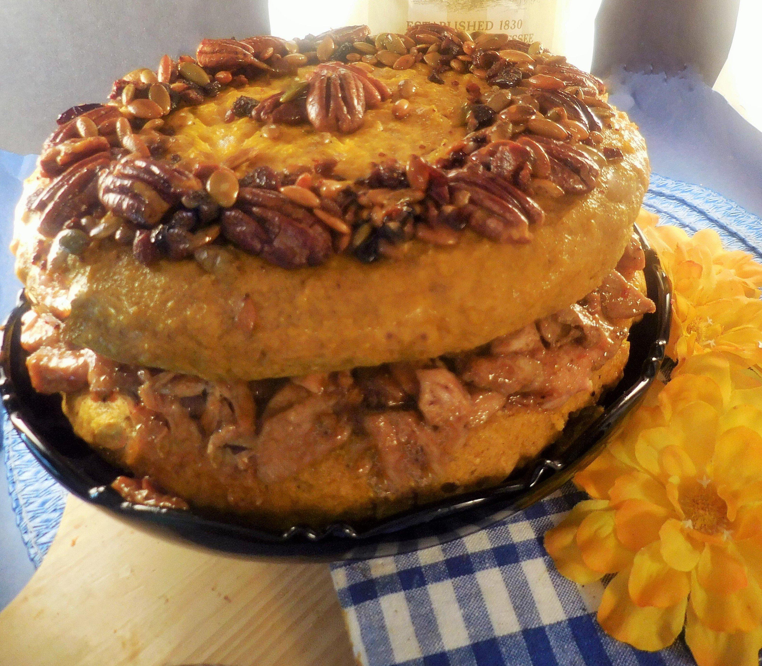 pulled pork and pumpkin cornbread torta