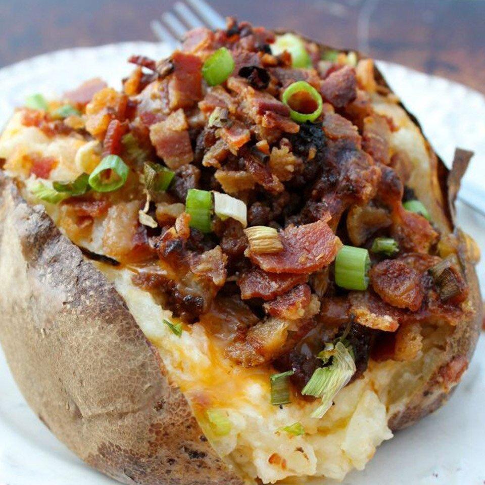 bacon cheese burger twice baked idaho potatoes
