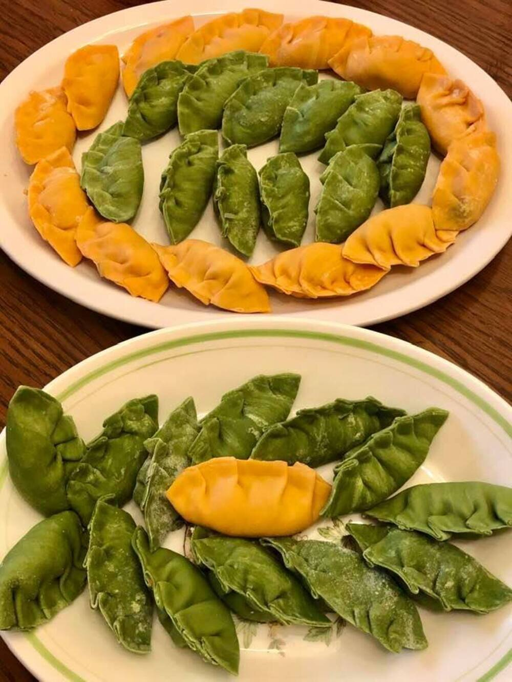 colorful korean dumplings mandu