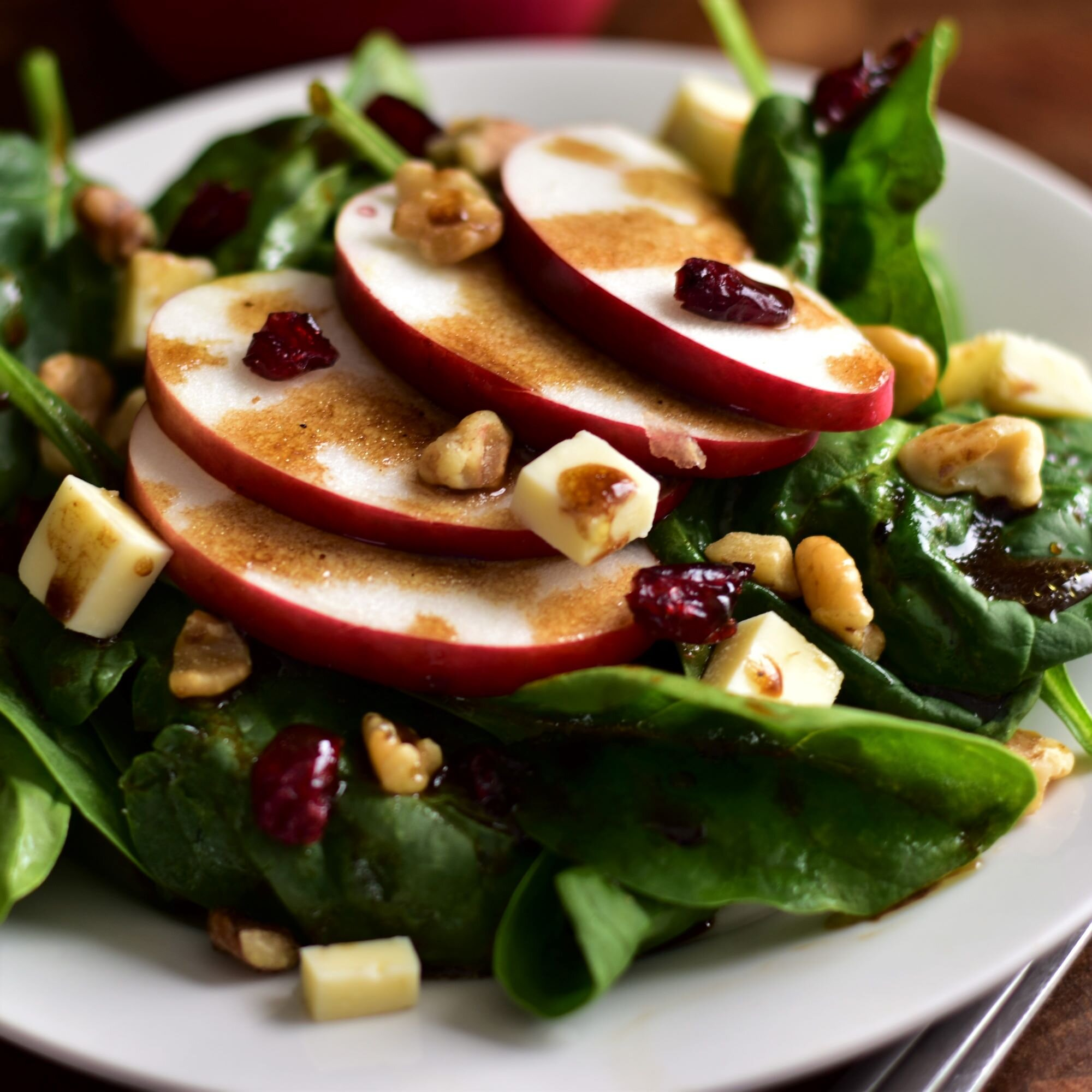 fall salad with maple balsamic dressing