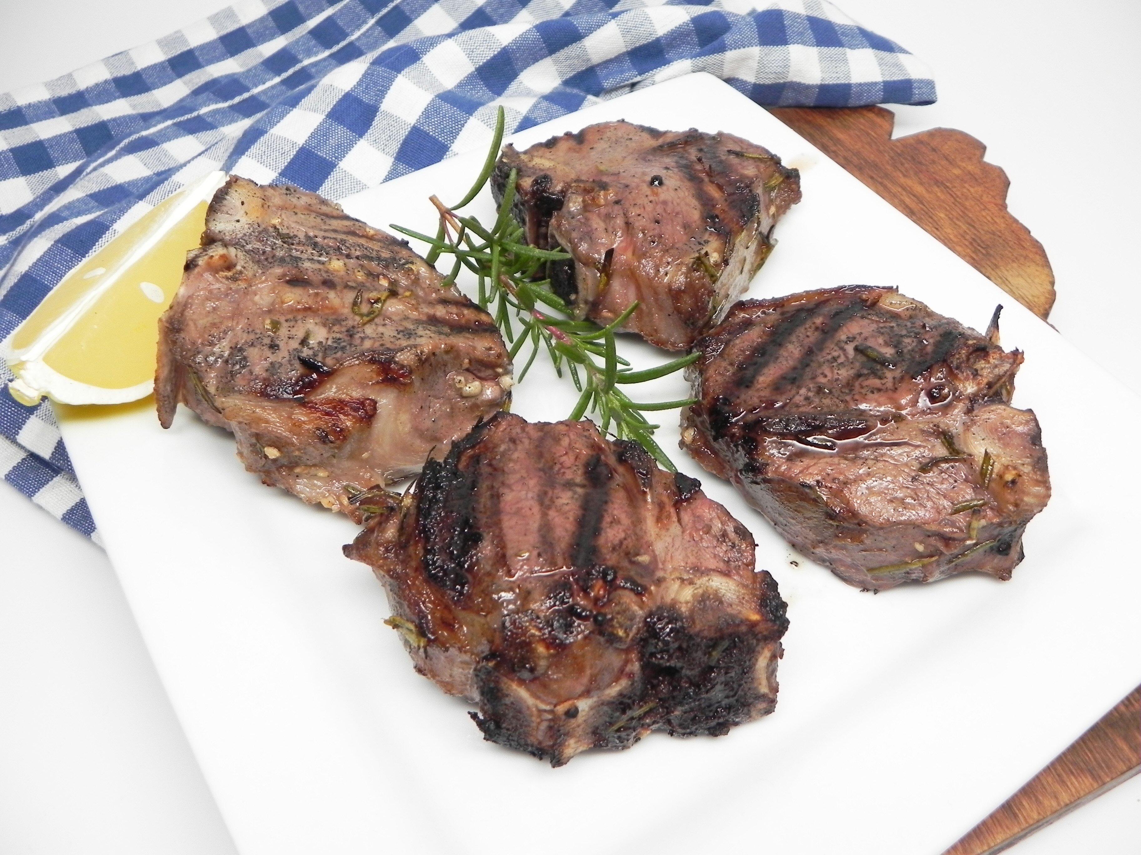 grilled garlic and rosemary lamb loin chops