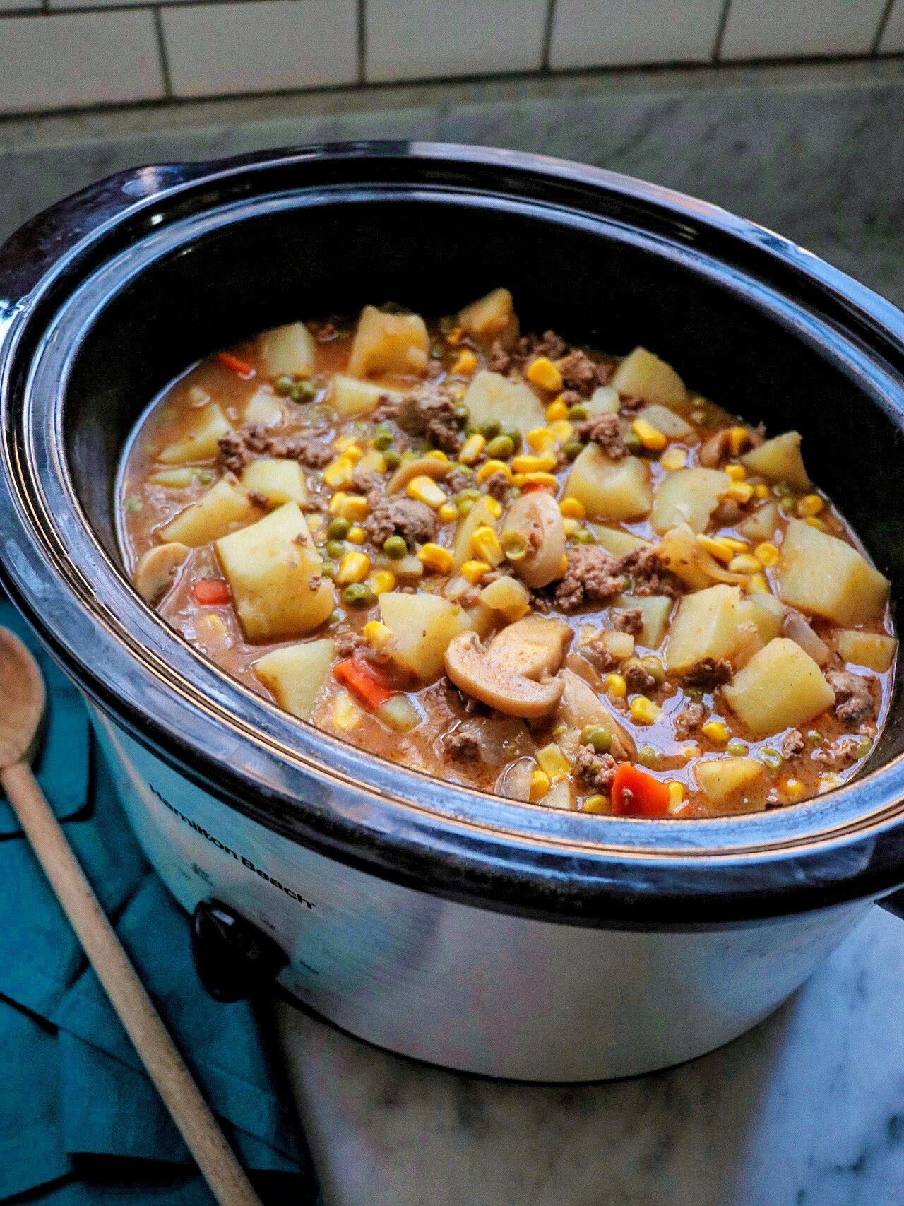 slow cooker ground beef stew recipe
