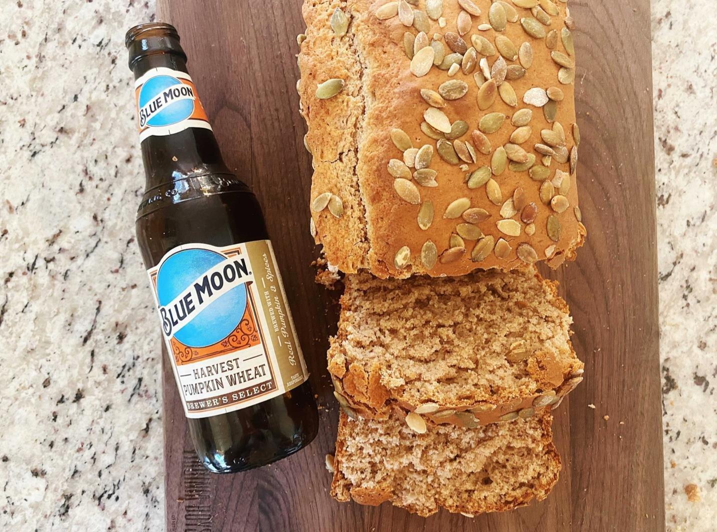 easy pumpkin beer bread with pepitas
