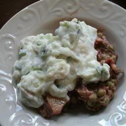 indian eggplant and potato curry with cucumber yogurt sauce