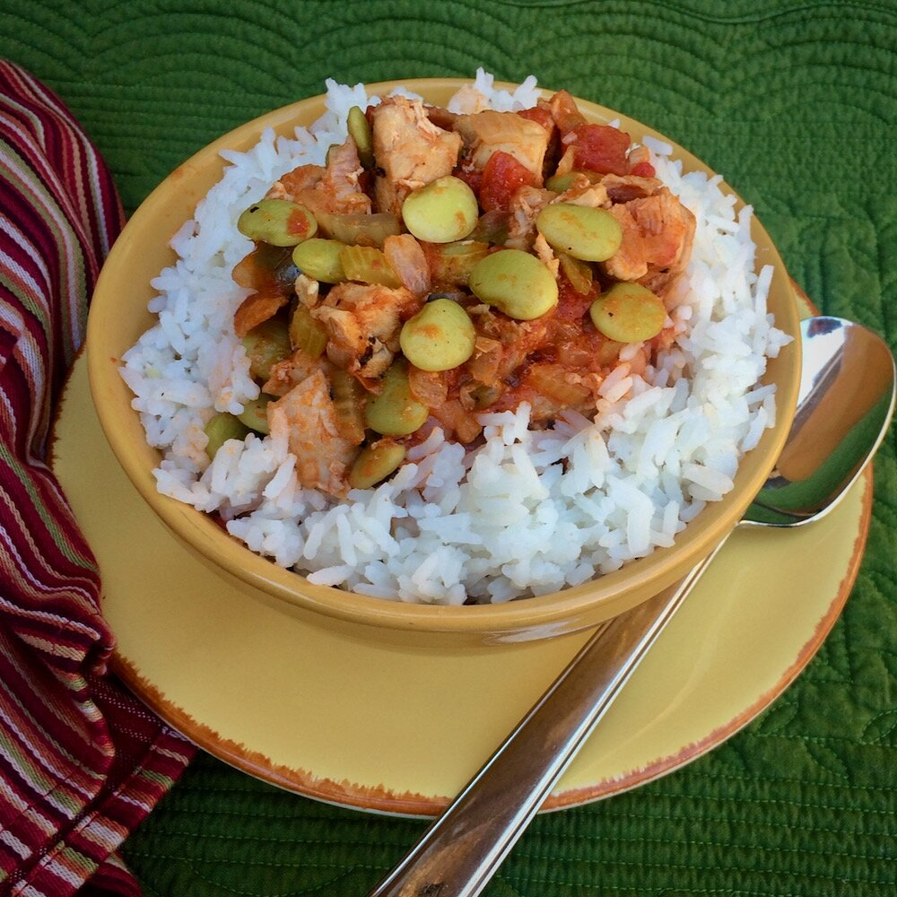 creole chicken stew with baby lima beans