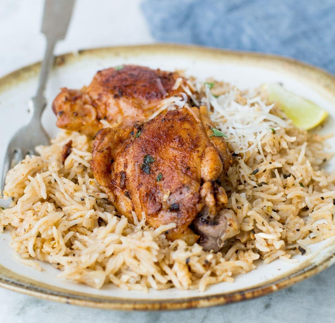 instant pot garlic herb chicken thighs and rice