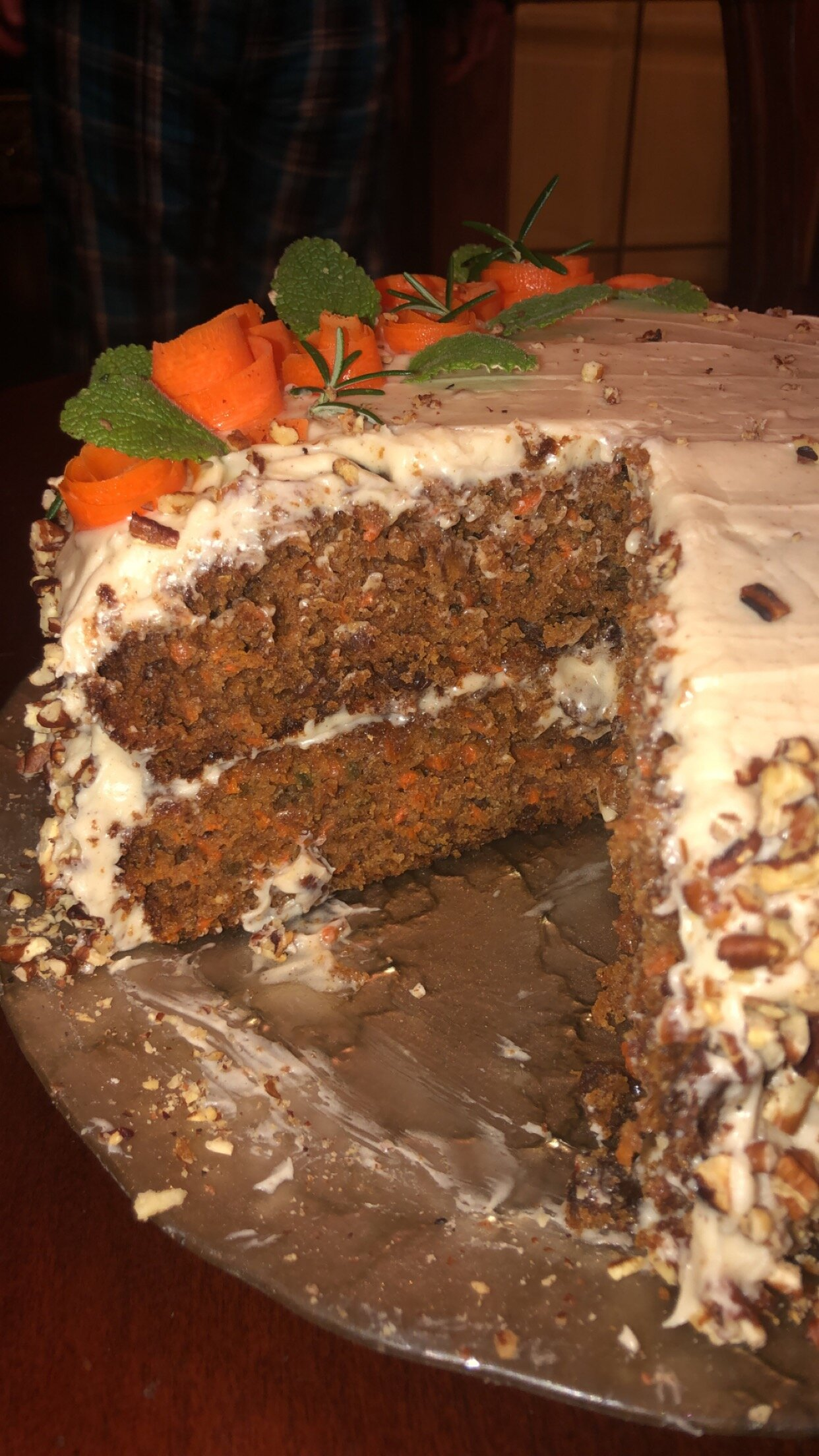 carrot cake with chai flavored cream cheese frosting