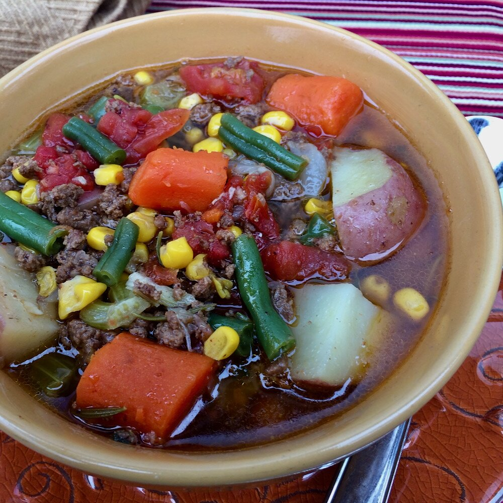 old fashioned hamburger and vegetable stew