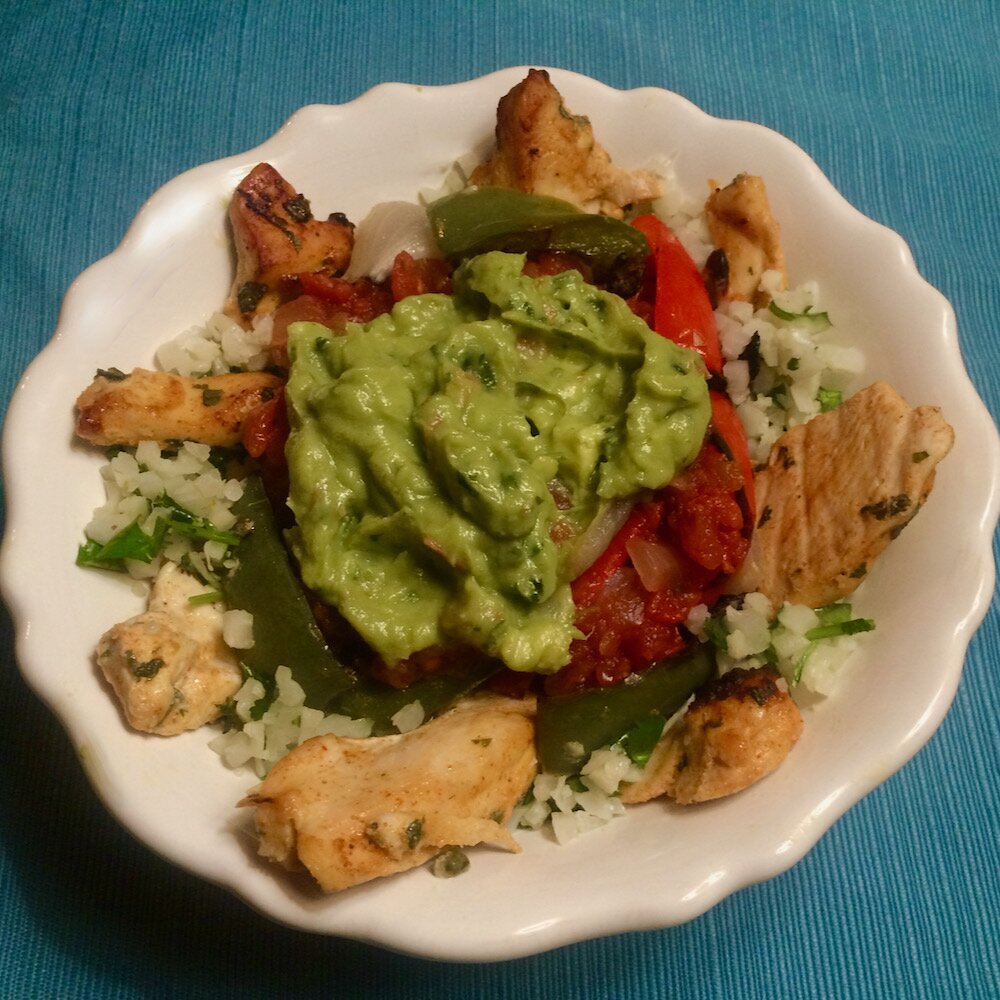 chicken fajita and cilantro lime cauliflower rice bowls