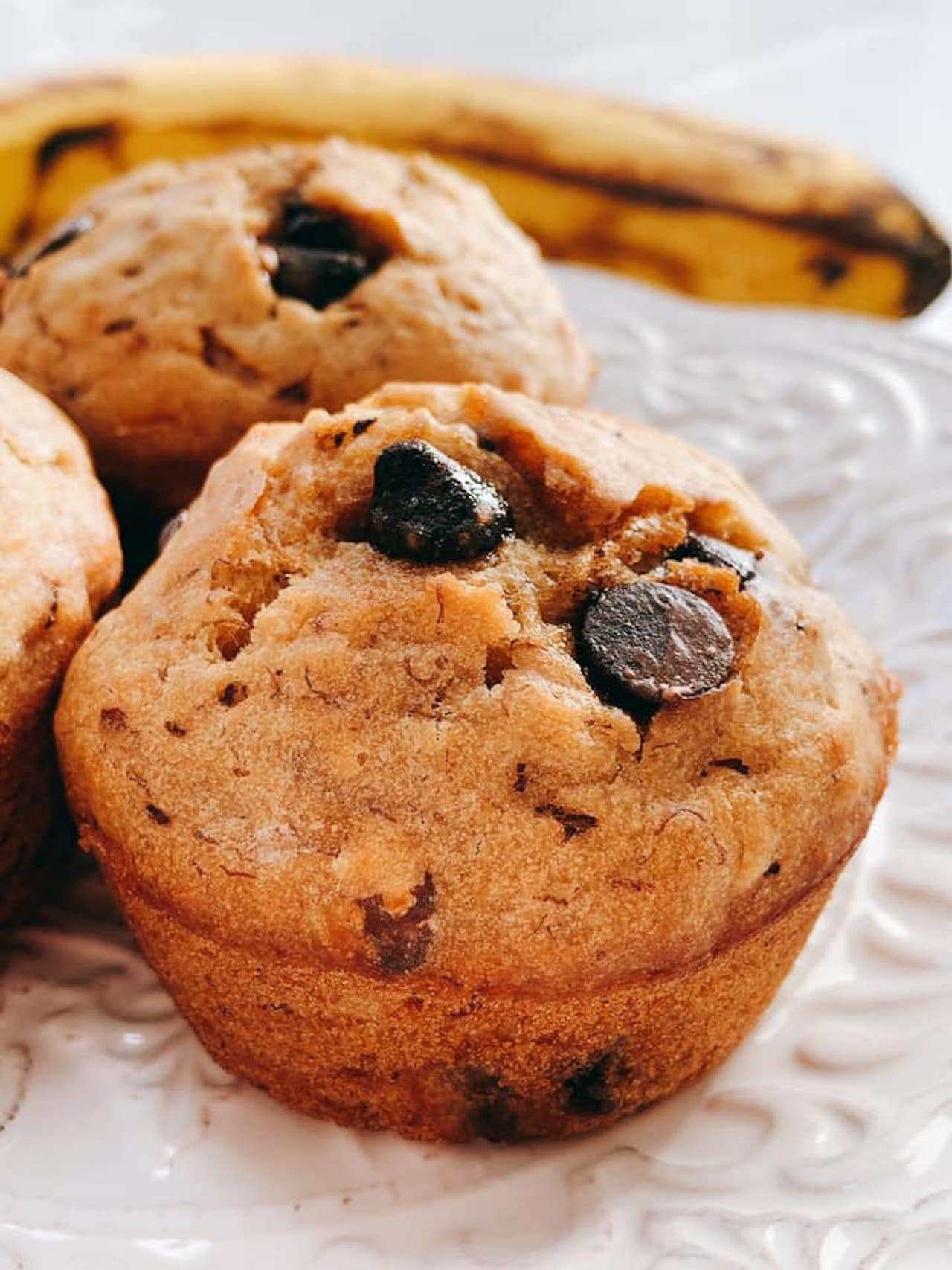 vegan banana nut carob muffins